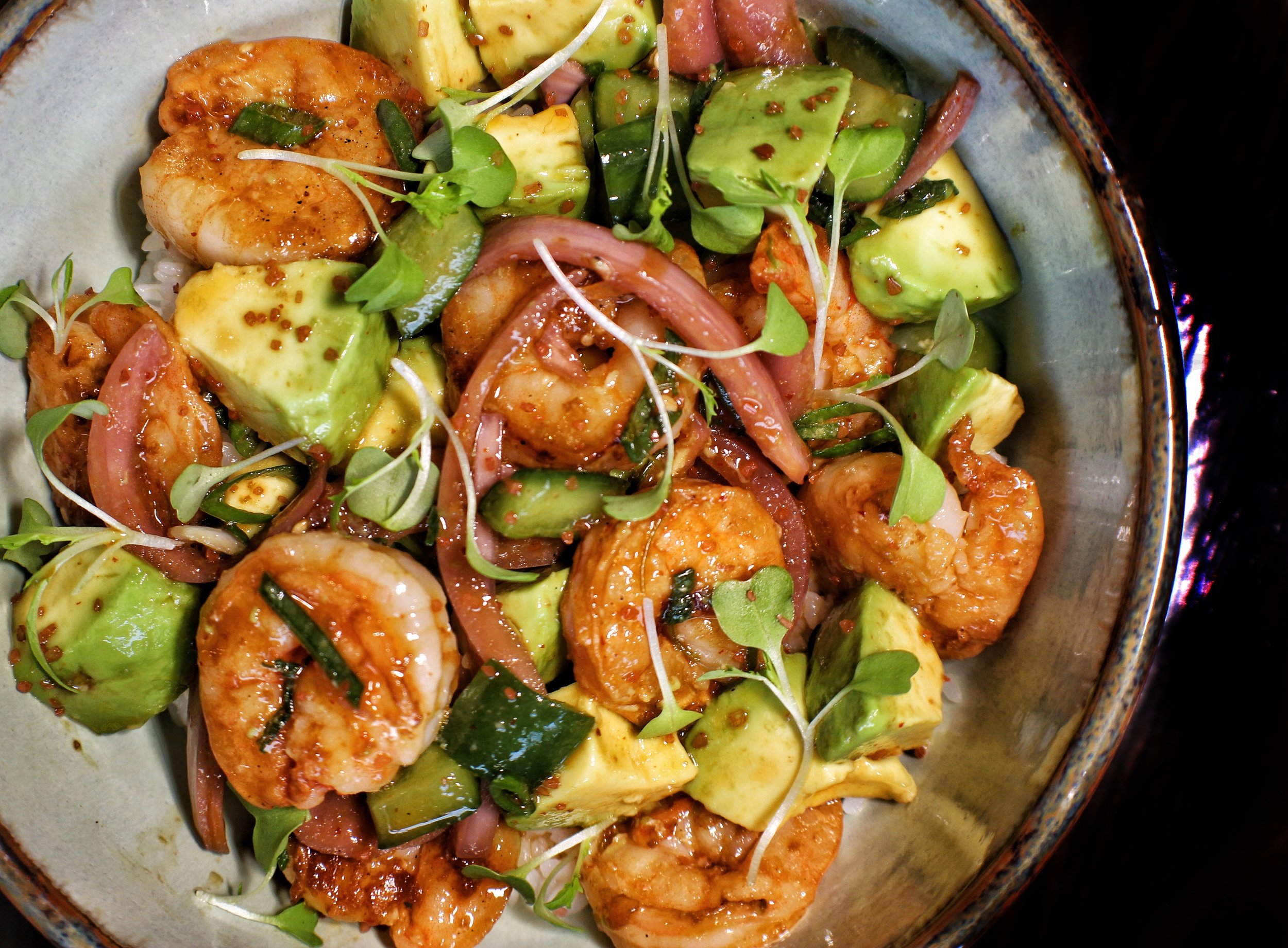shrimp poke bowl  avocado, cucumber, pickled red onion, rice