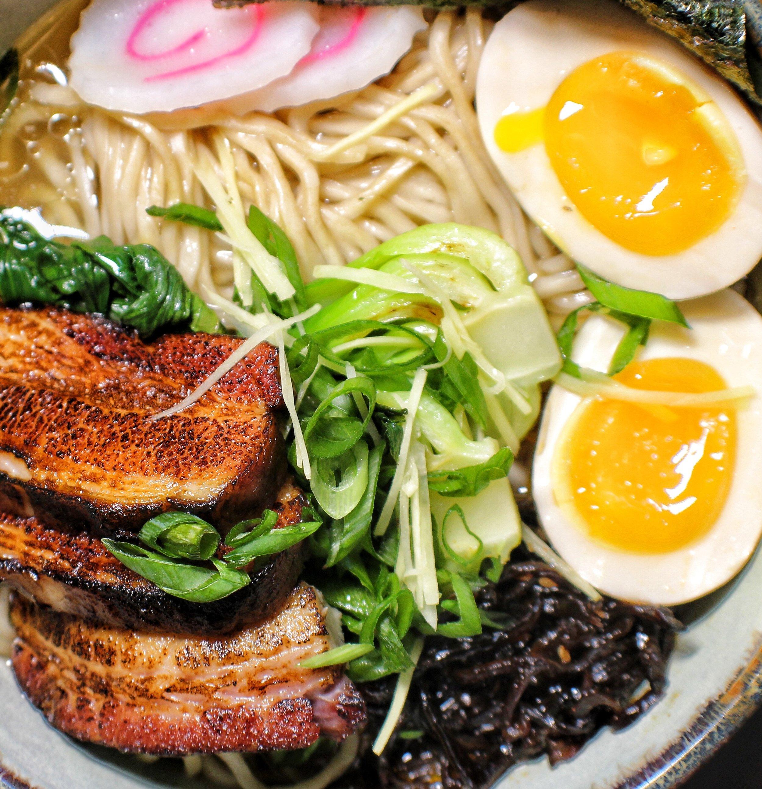 saimin noodles  kalua pork belly, soft egg, asian greens