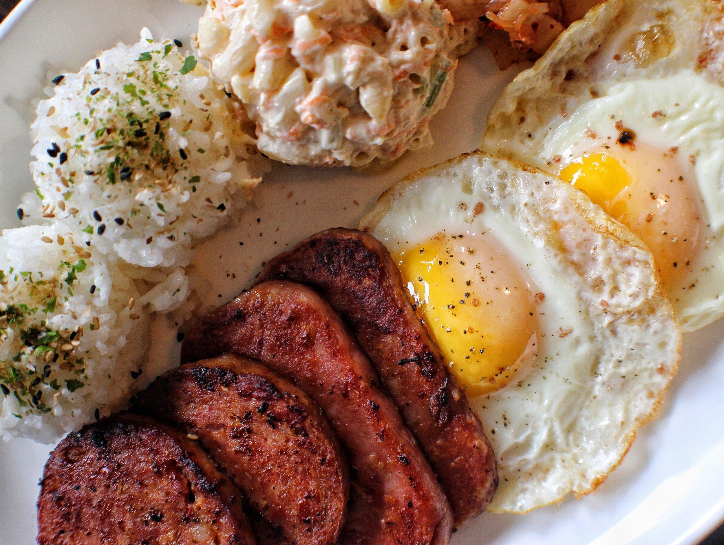 hawaiian breakfast  spam, portuguese sausage, fried eggs, mac salad
