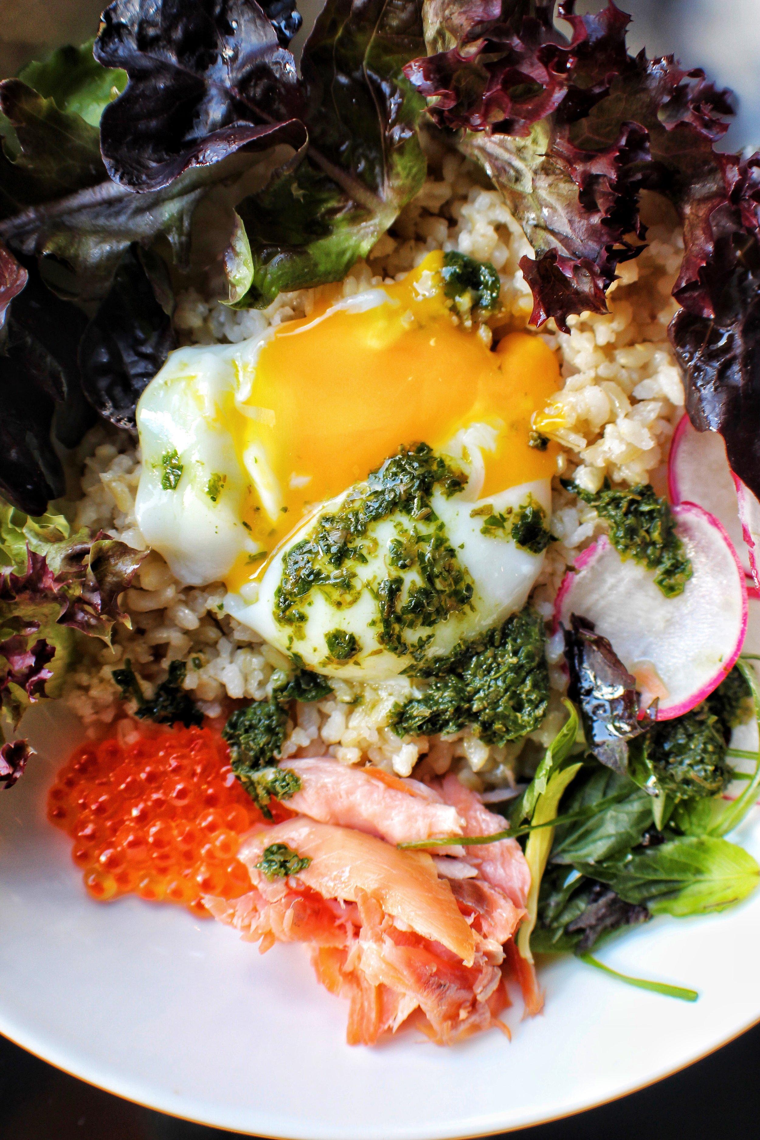 Breakfast Bowl  Mixed Greens, Poached Egg, Smoked Trout, Radish