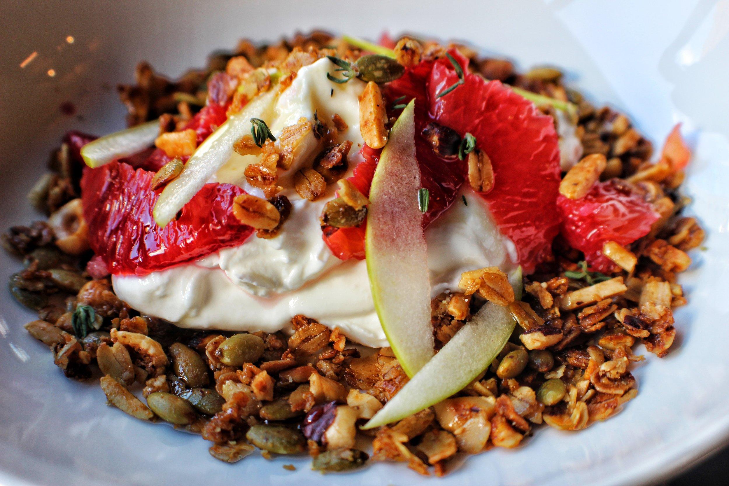 Greek Yogurt  Granola, Seasonal Fruit