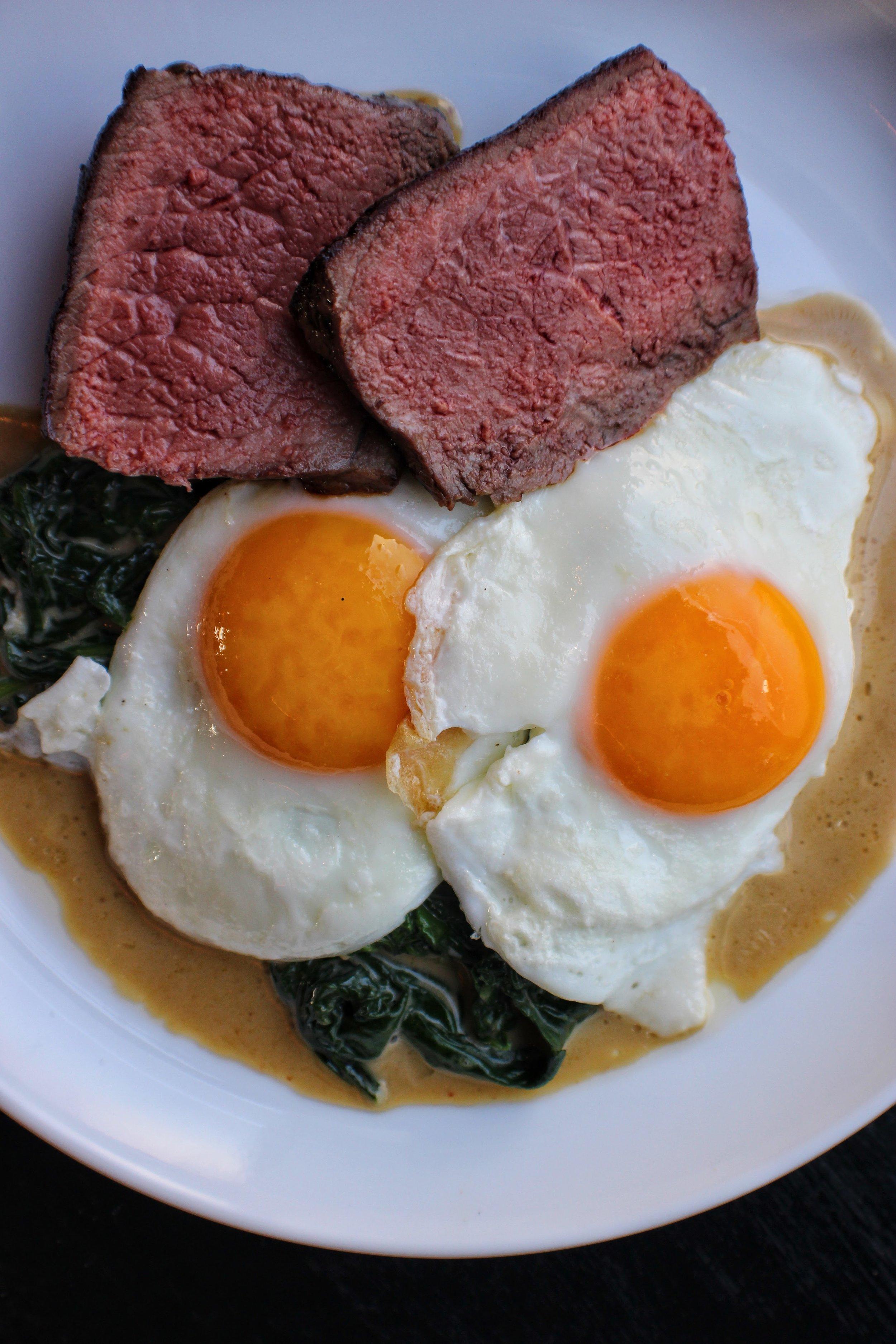 Hanger Steak & Eggs  Creamed Chard
