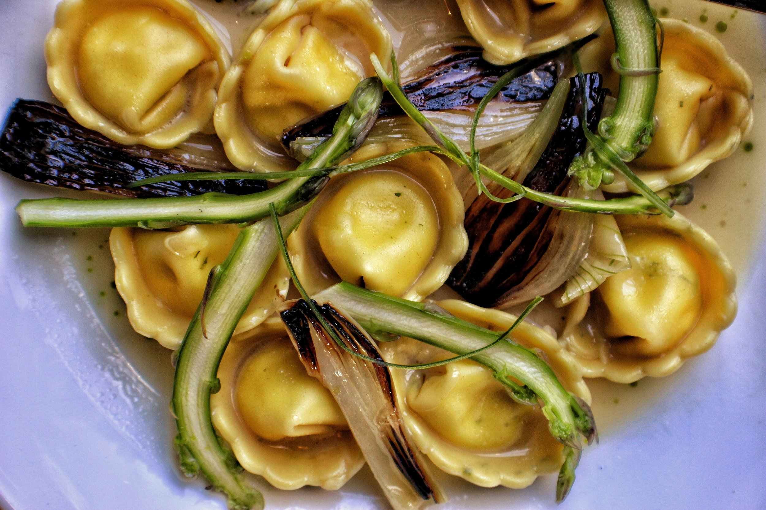 Tortellini en Brodo  Parmesan Broth, Spring Onion