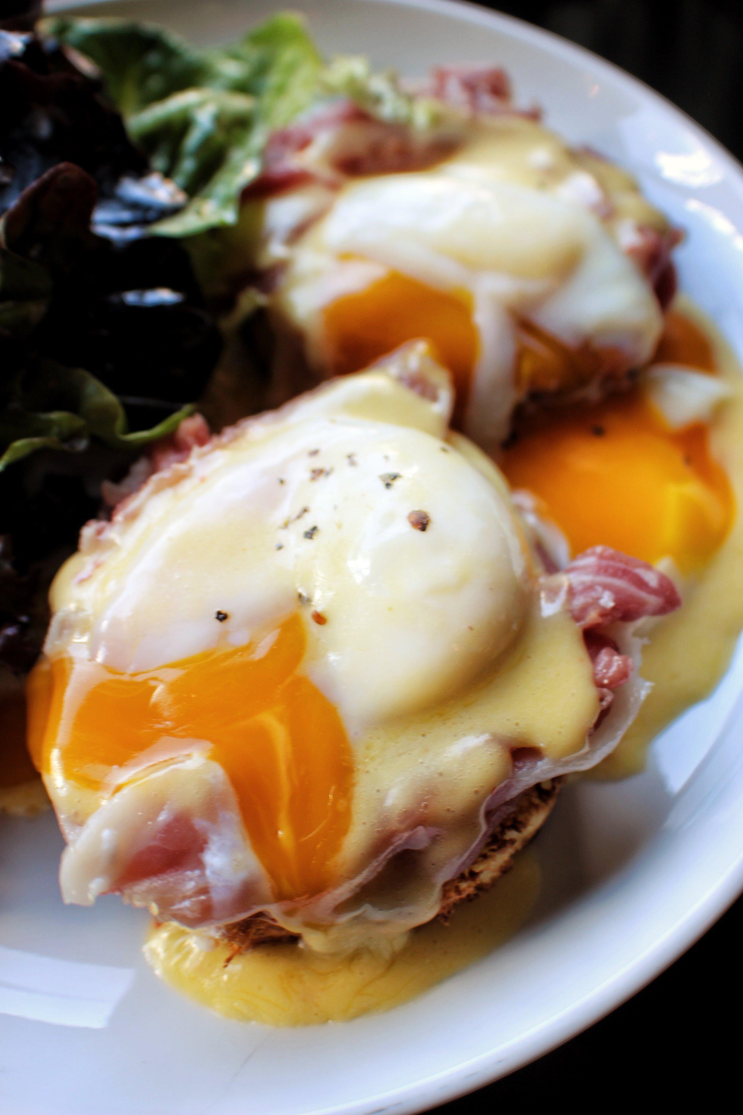 Eggs Benedict  Brioche, Poached Egg, Prosciutto, Hollandaise