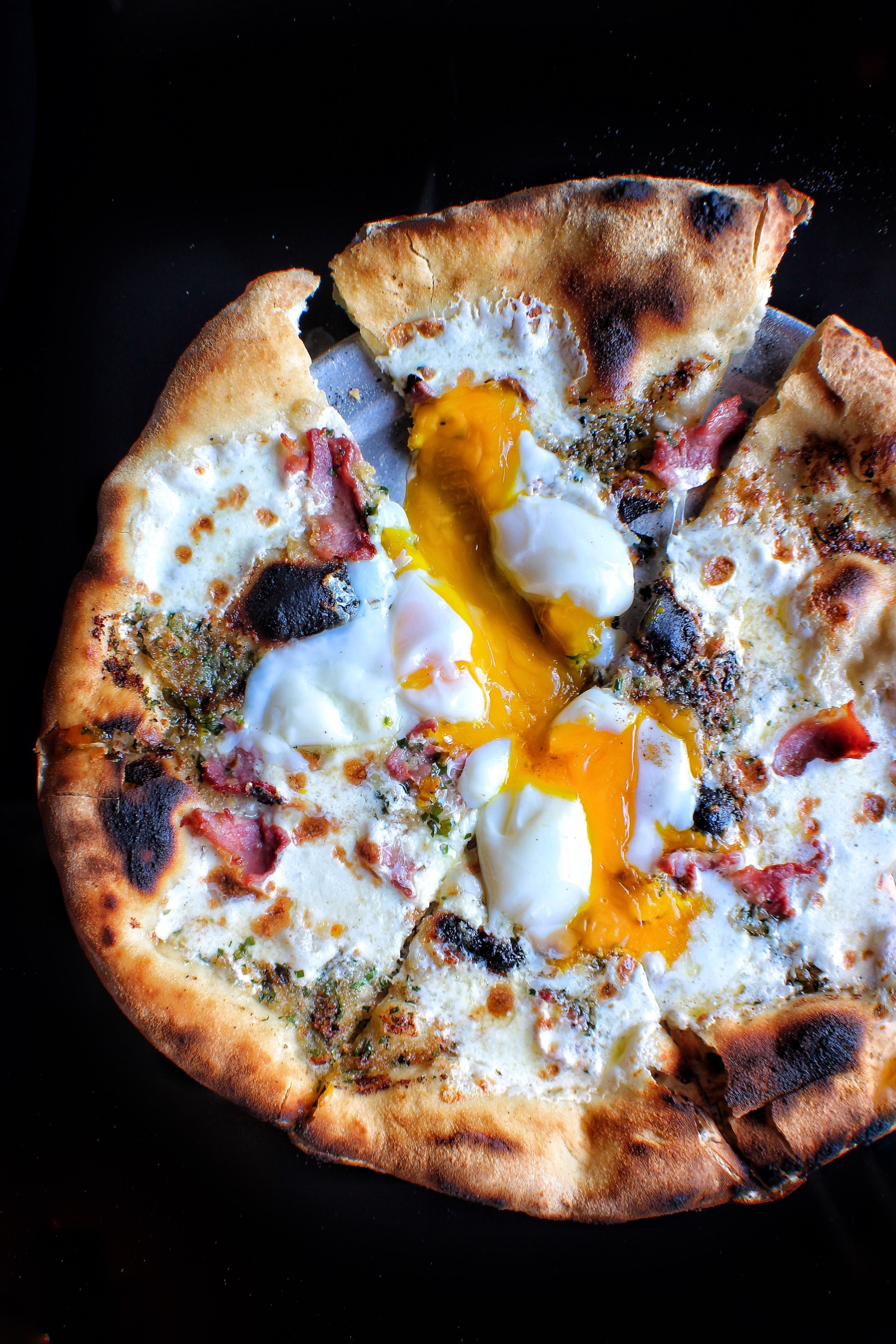 Bacon, Egg, and Cheese PIZZA  Mozarella di Bufala, Country Ham, Hen Egg