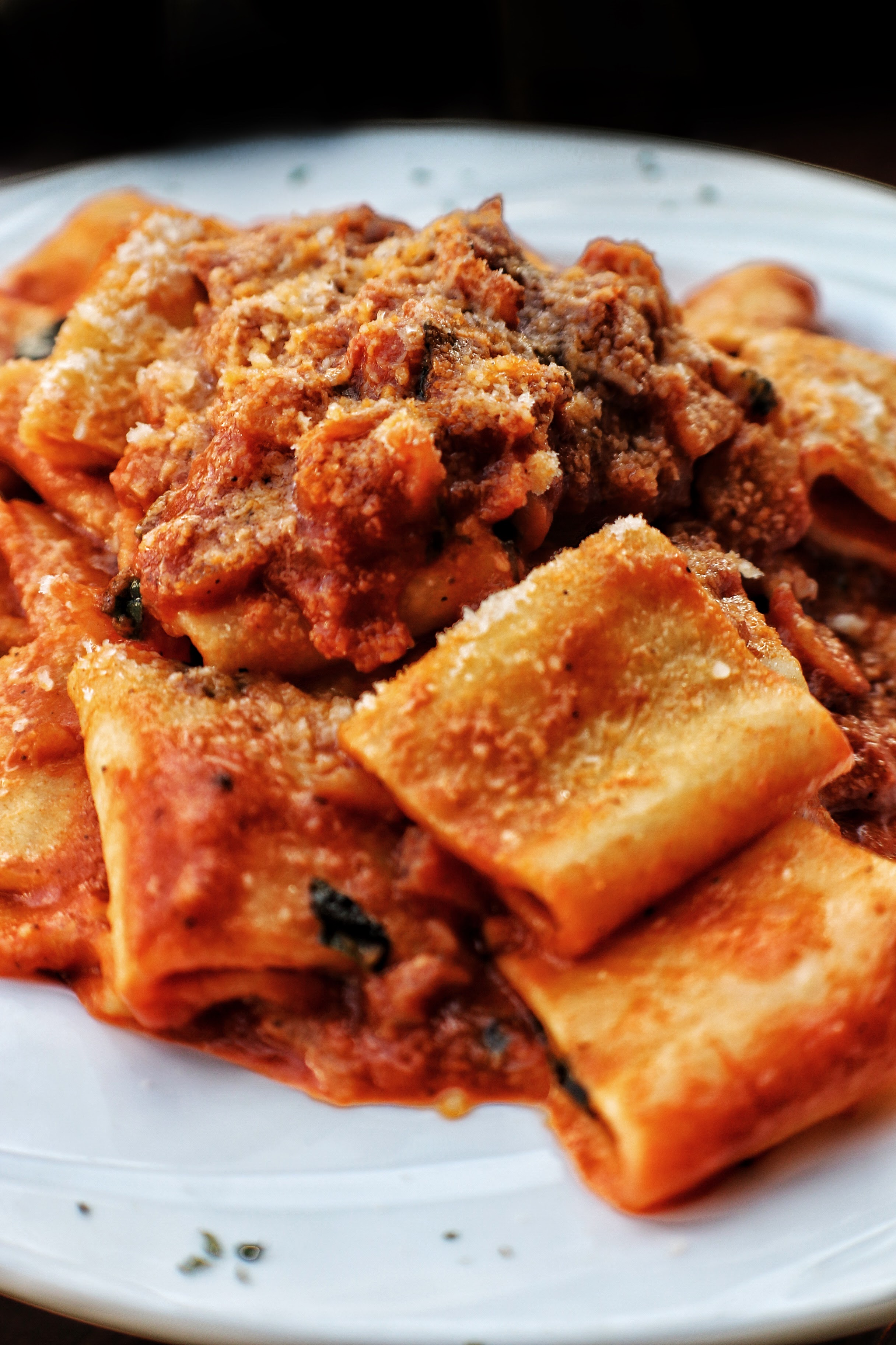 Paccheri alla Matriciana   Paccheri Pasta, Pancetta, Onions, Tomato Sauce, Pecorino Romano