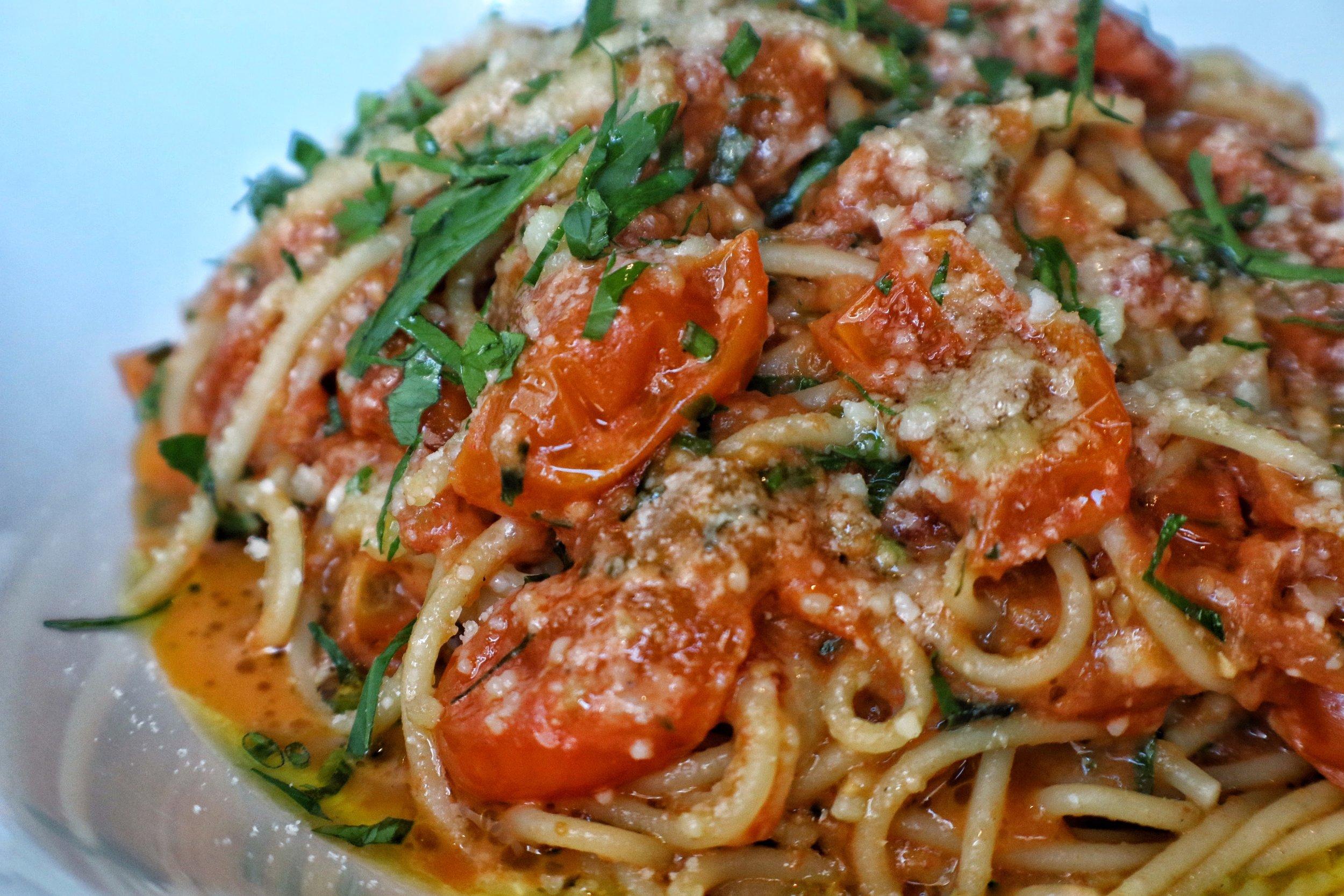 spaghettini, san marzano tomato sauce, basil, parmigiano reggiano