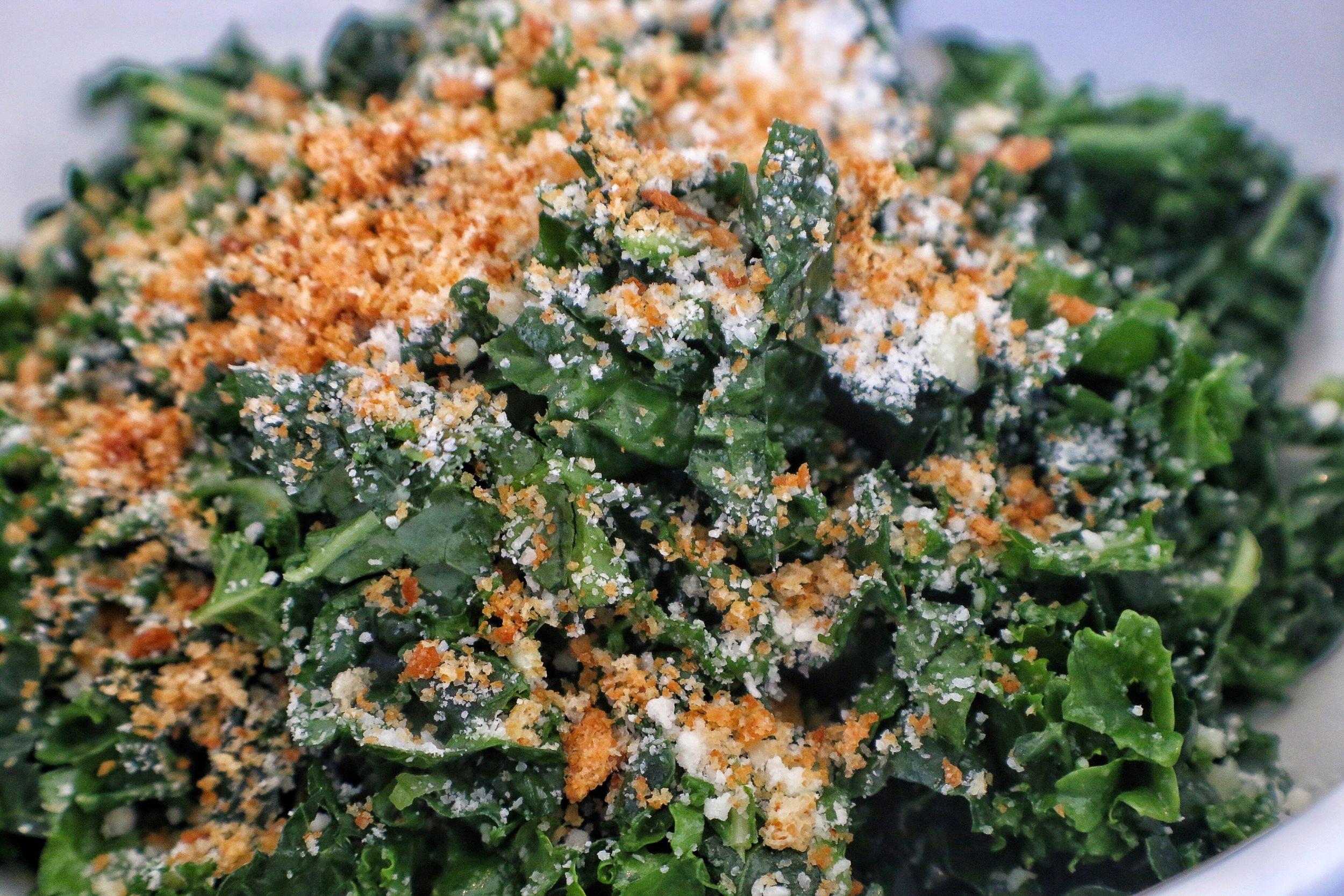 kale salad, parmigiano reggiano, garlic, croutons
