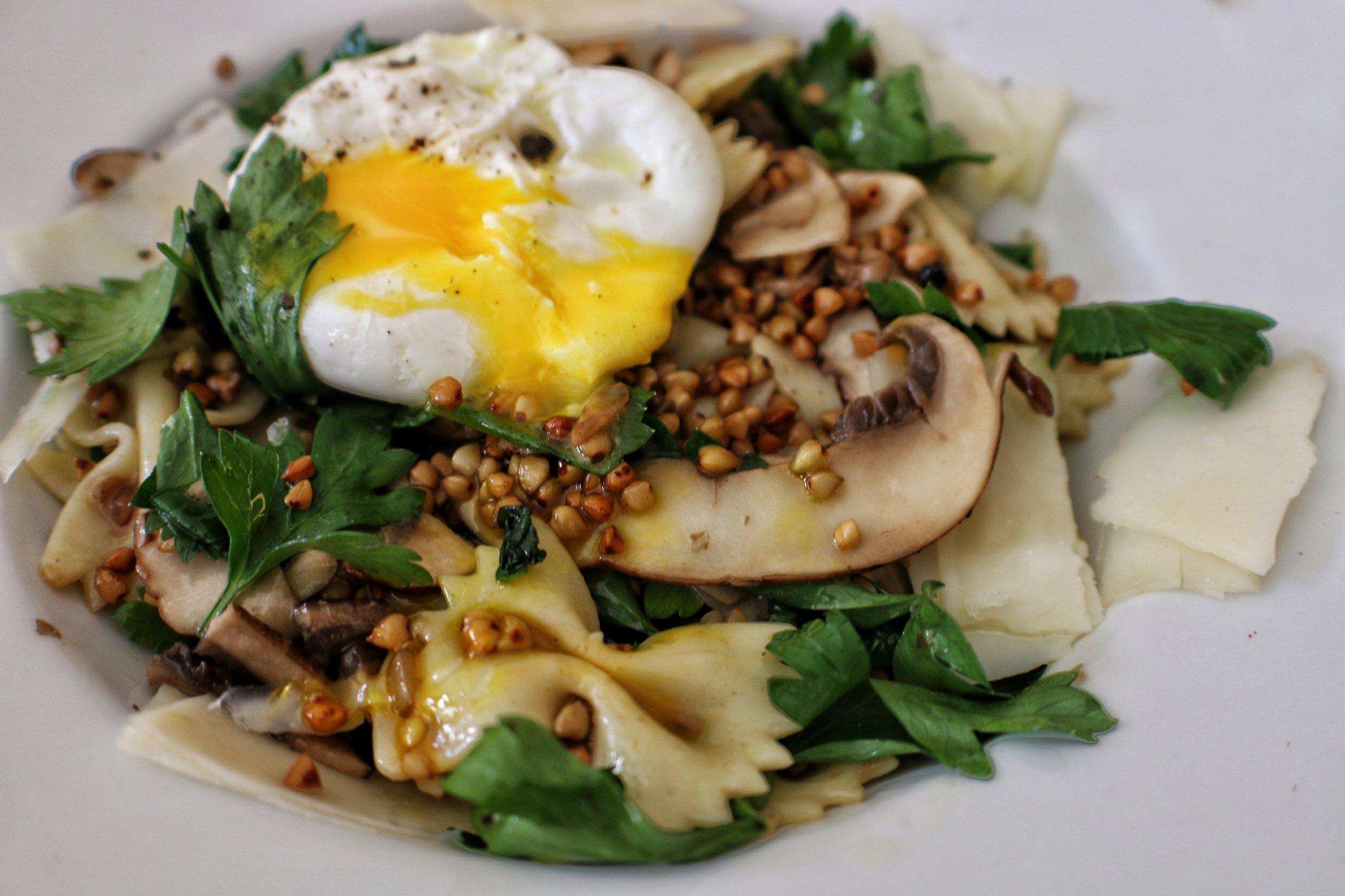 "cali ""kasha"" varnishkas -Butter toasted kasha, parsley, crimini mushrooms, onion agrodolce, farfalle, poached egg"