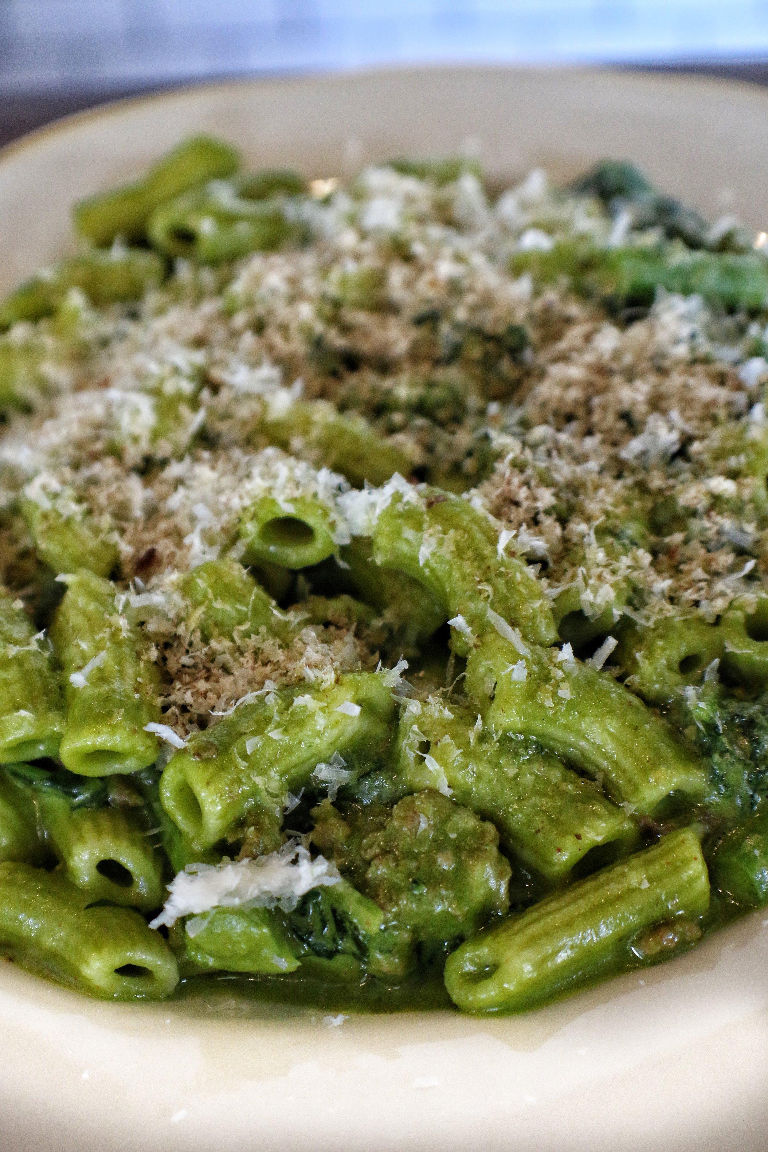 RIGATONI  Sweet Italian Sausage, Broccoli Rabe Pesto, Pecans