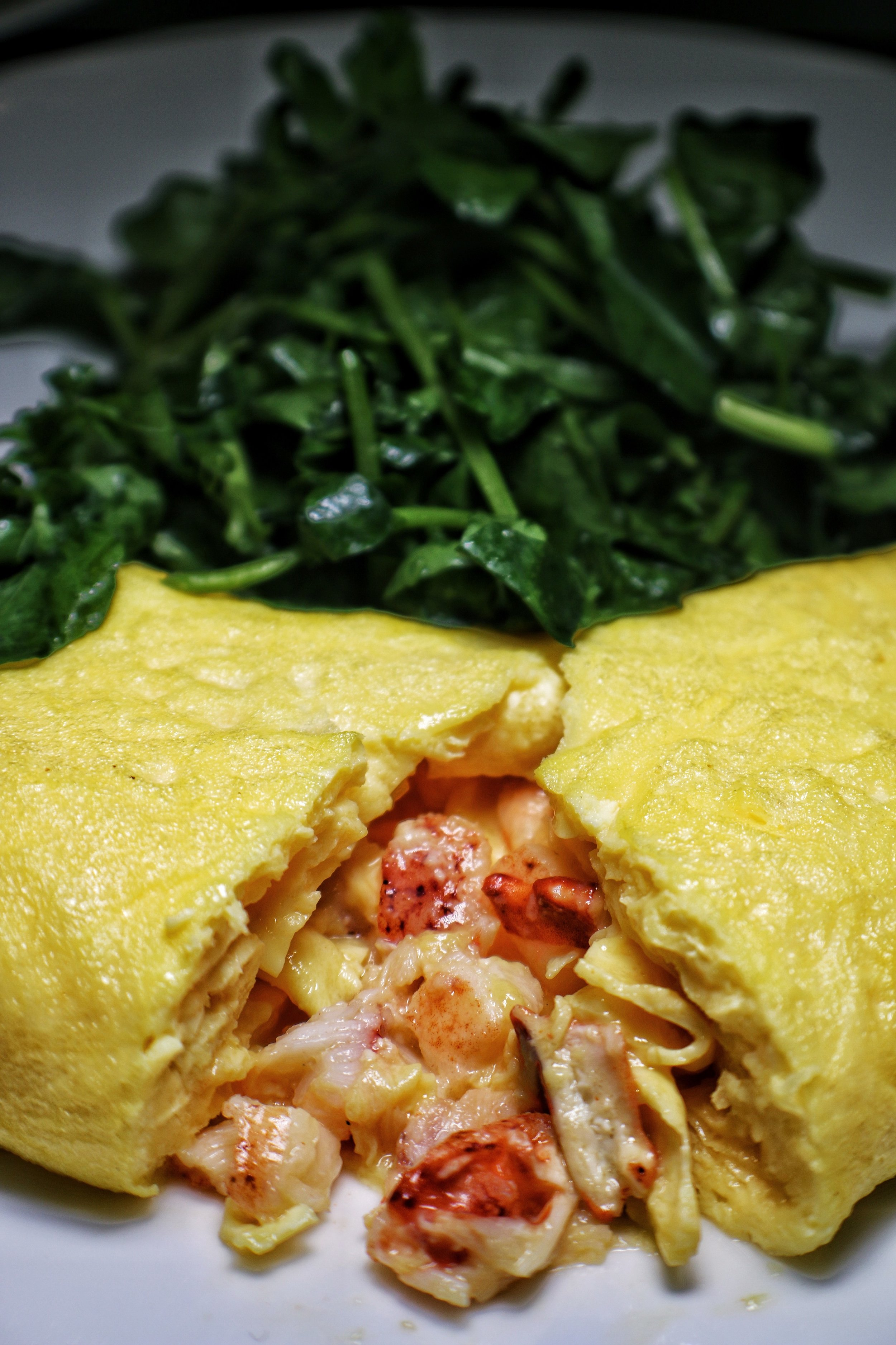 Lobster omelette, watercress, lobster bisque hollandaise