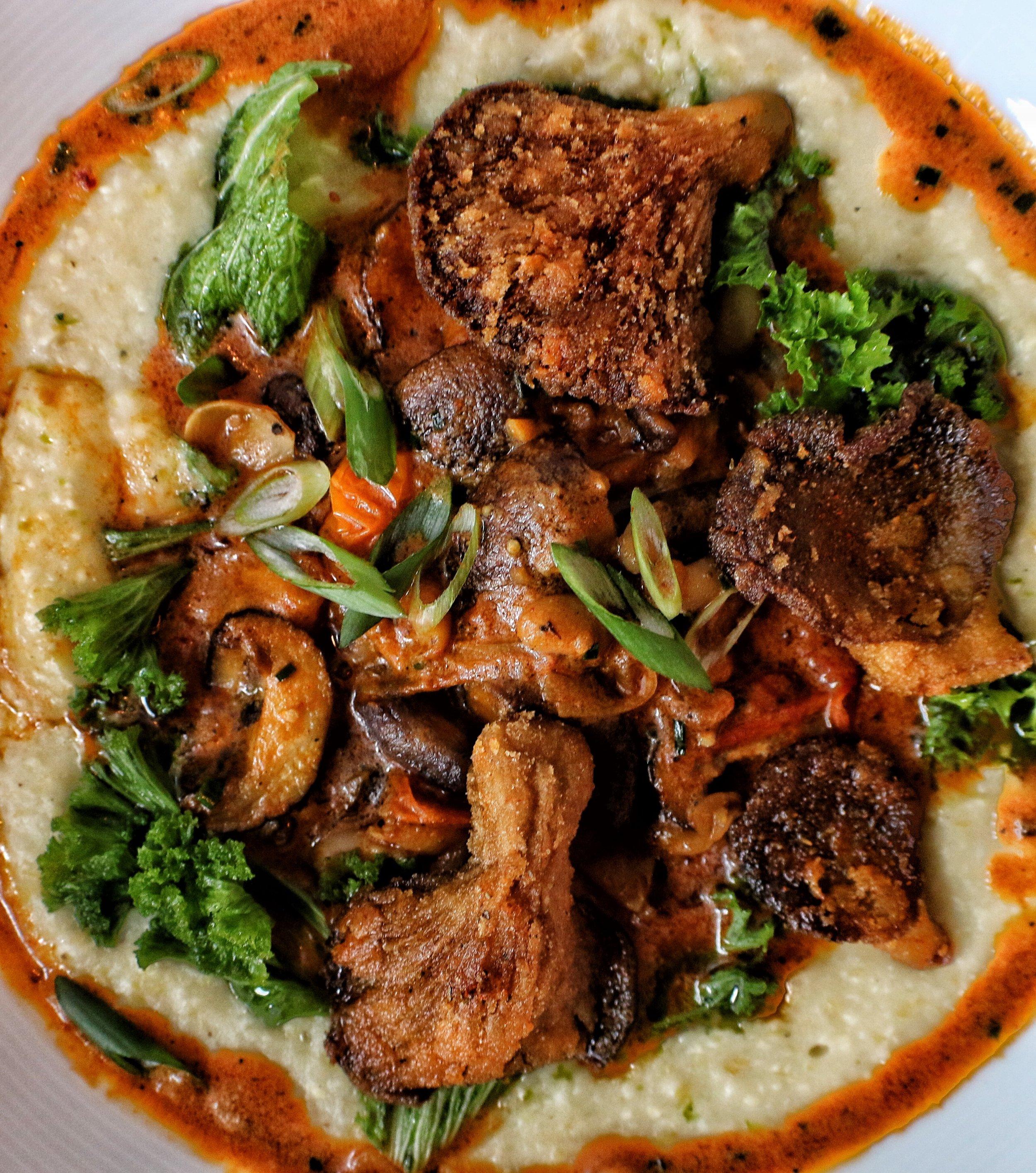 Shrooms & Grits  cajun mushroom & chickpeas, collards, grits
