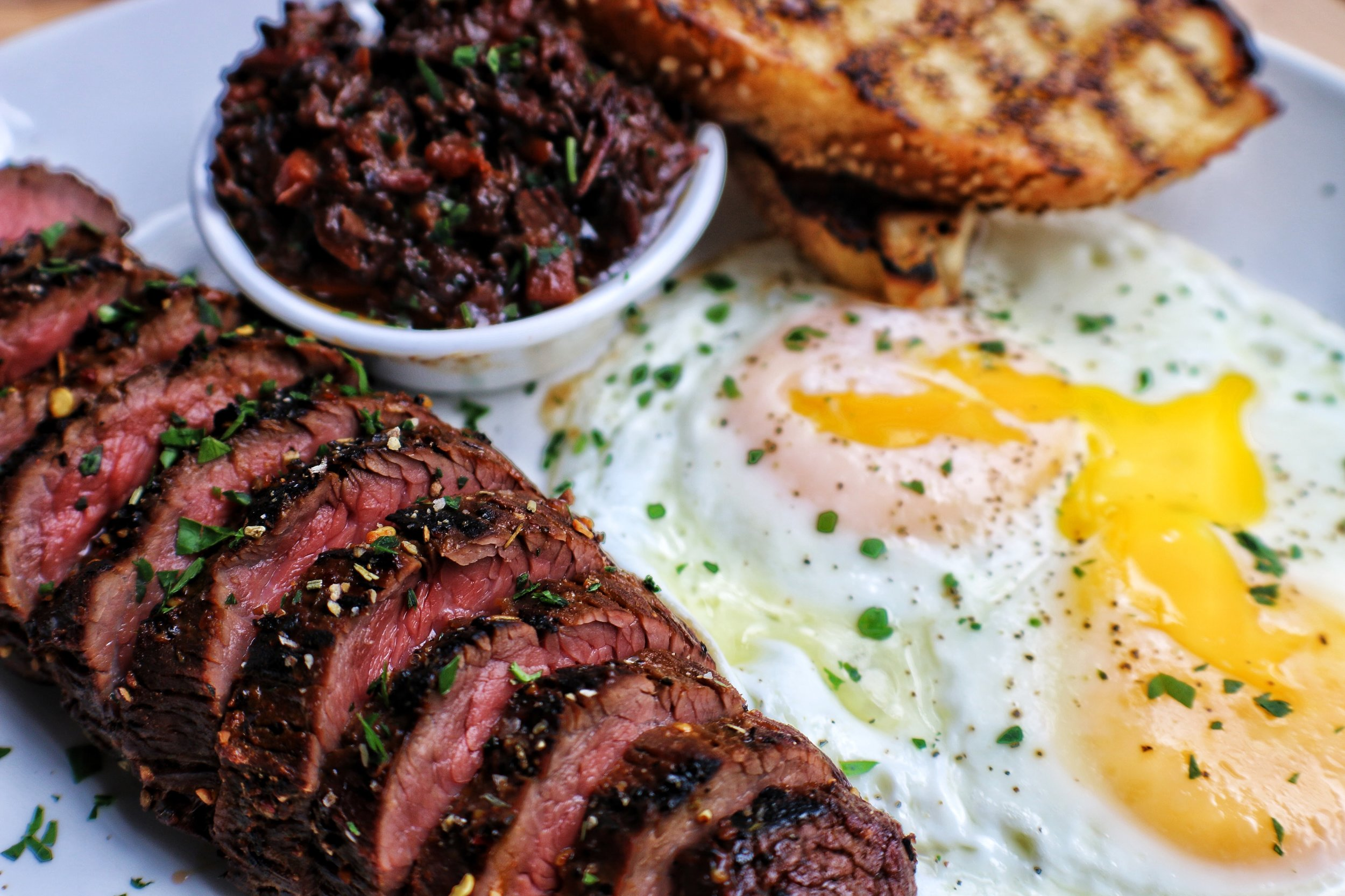 155 Steak & Eggs with Smoked Beef Cheek Marmalade