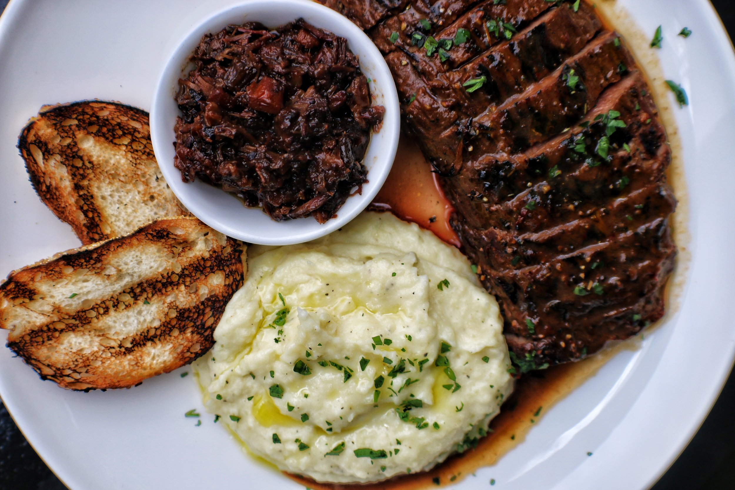 155 Steak & Mashed Potatoes with Smoked Beef Cheek Marmalade