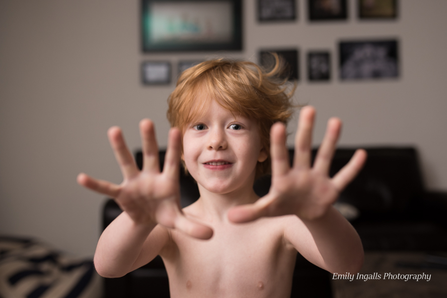 Cullen told me exactly how old he was (with both hands)when he woke up at 6am!