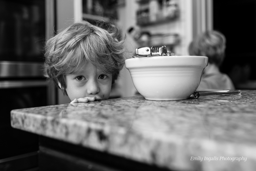 Cullen helping me back chocolate chip muffins (as per his request).