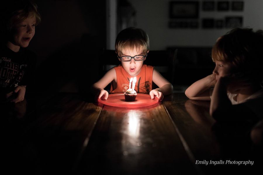 Blowing out his Birthday candles