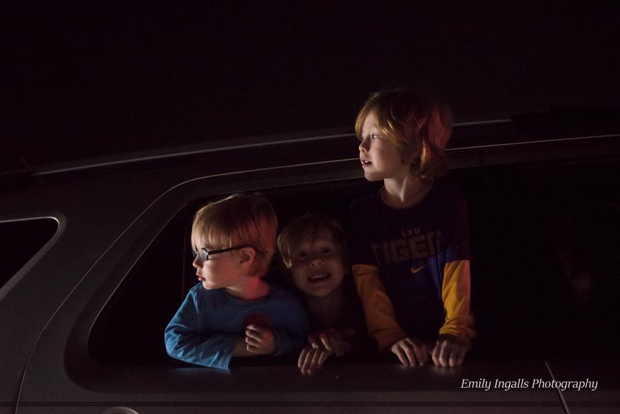 All three boys enjoying the lights!