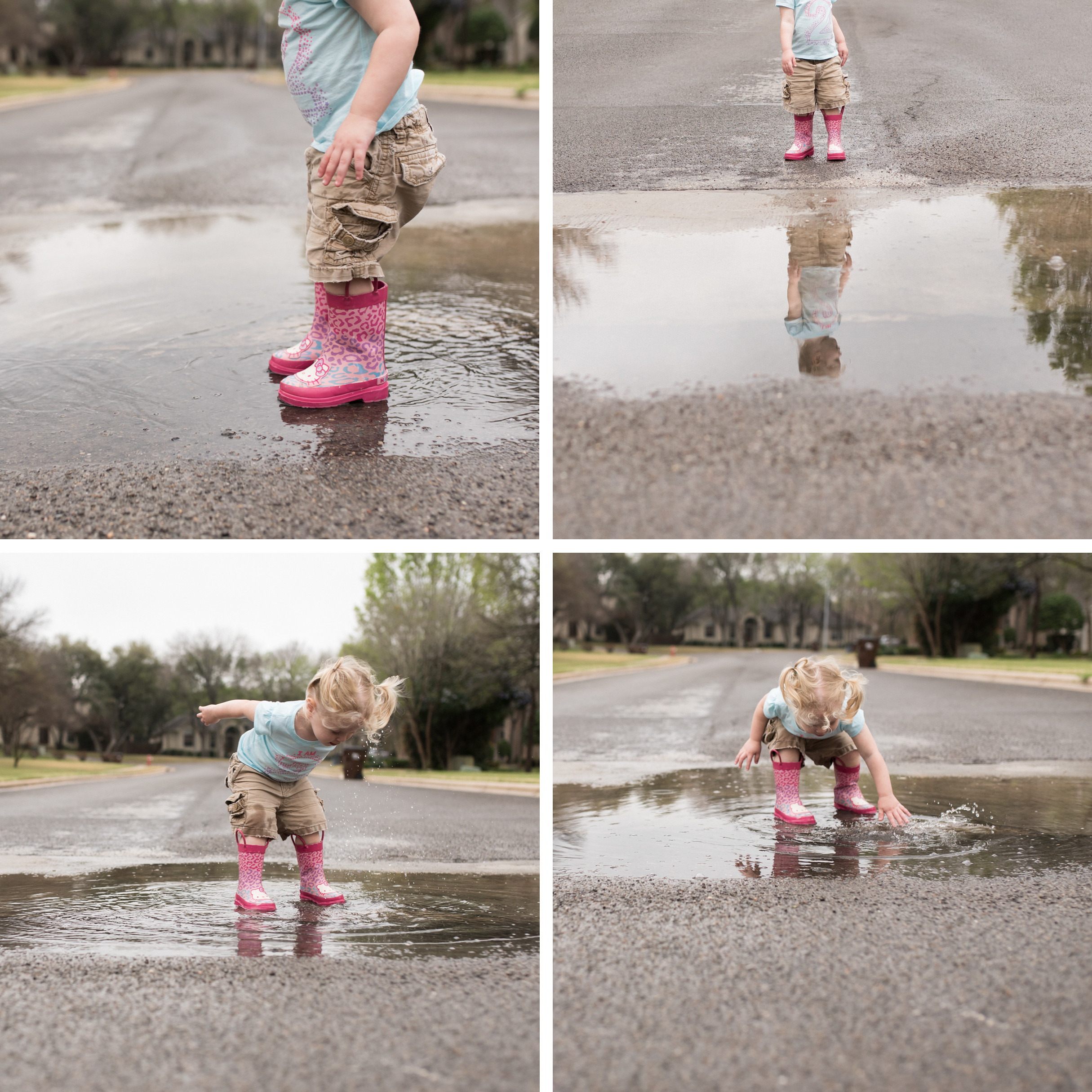 It stopped raining, so I took her outside to play in the puddles.