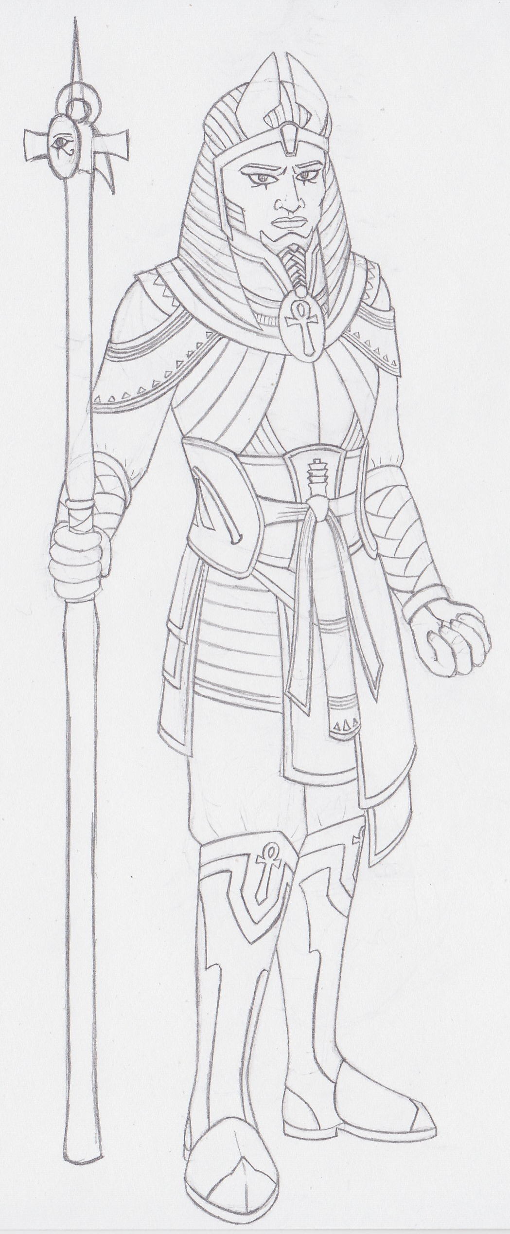 A somewhat rough sketch of my Lvl 17 Oracle/Paladin/Holy Vindicator Anen the Peace Giver, hero of Osirion and slayer of undead pharaohs across the ages