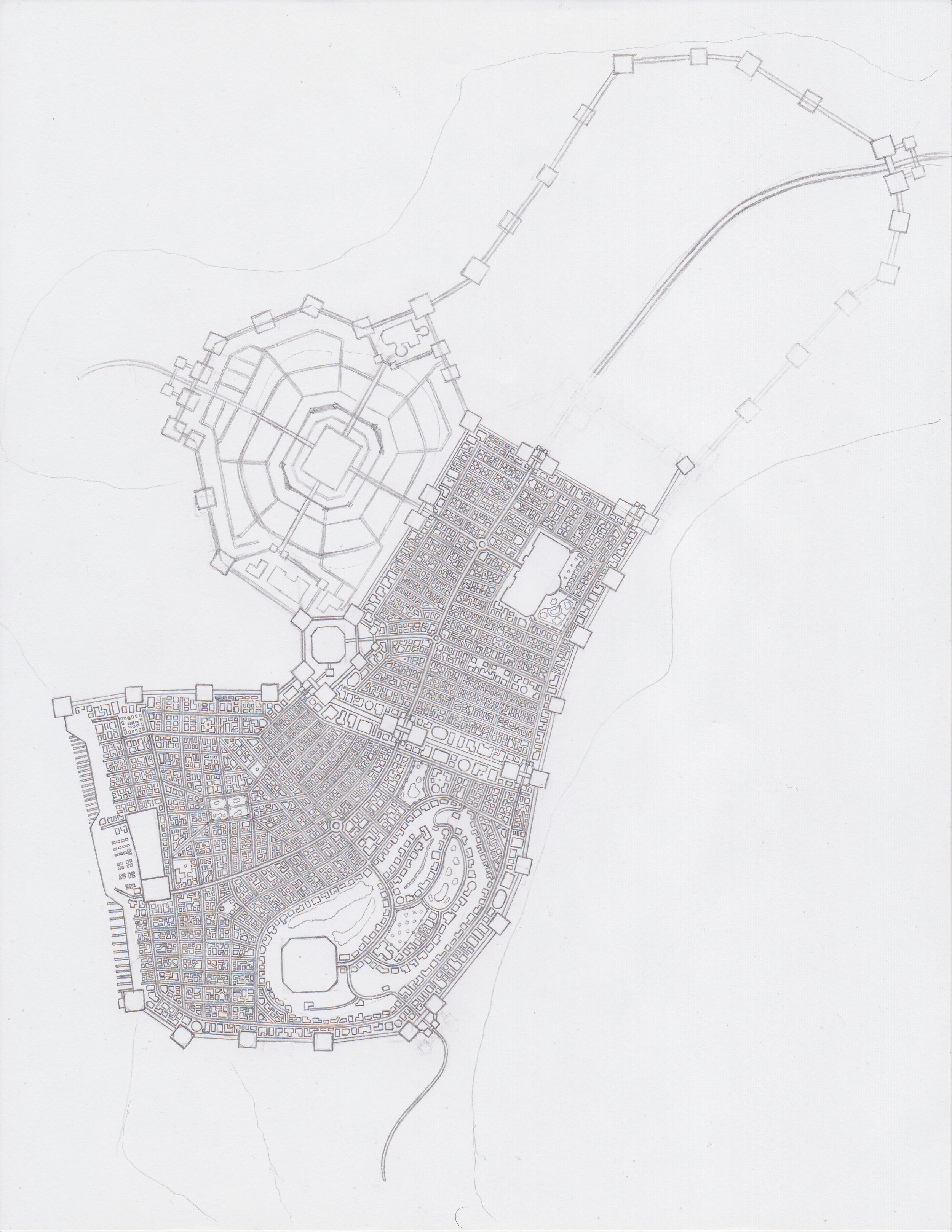 The city of Degwoch, in its current state of drawing progress.