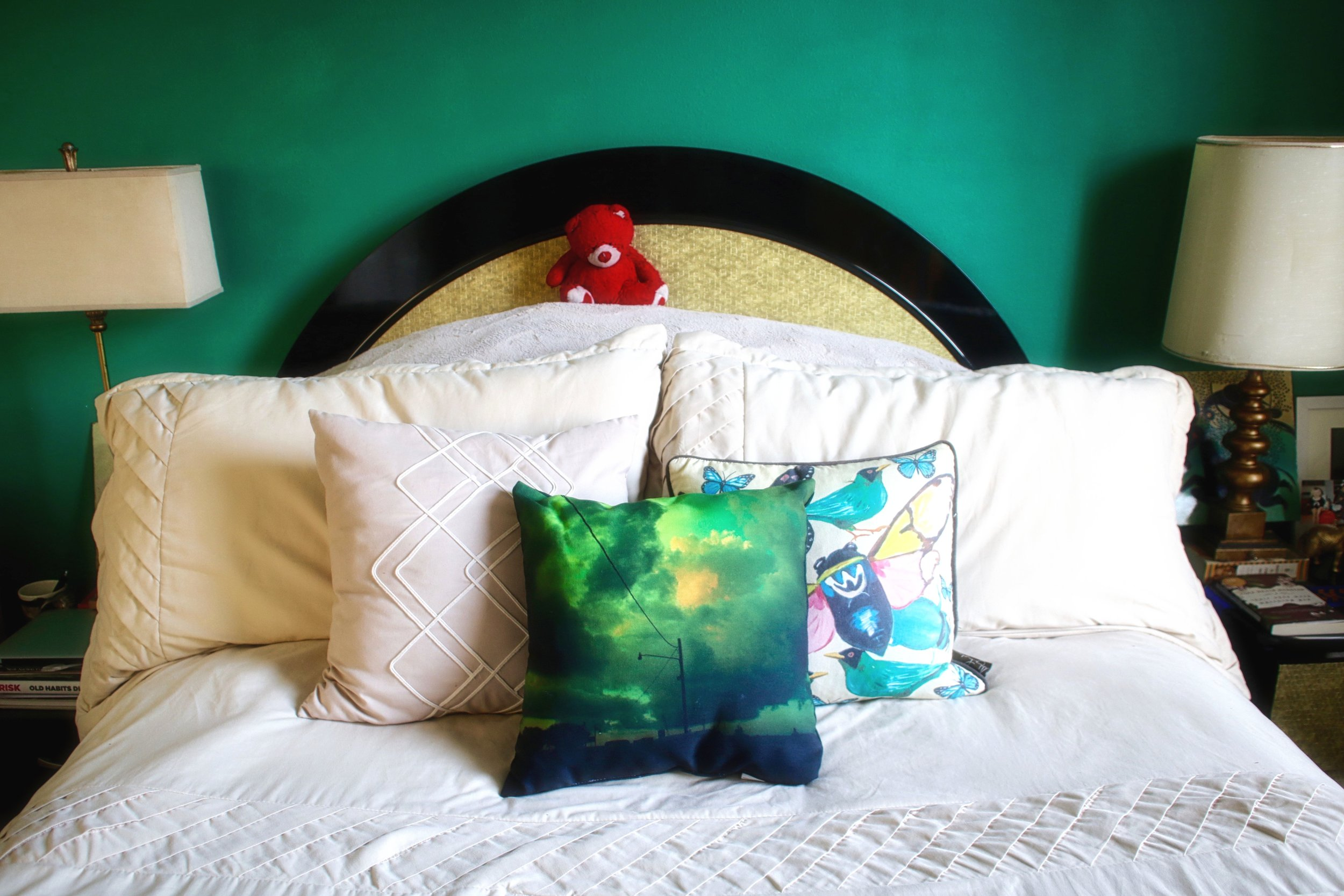 Artwork on Solace pillow by  Ashley Lo  r  raine , other pillow by  Ashley Longshore