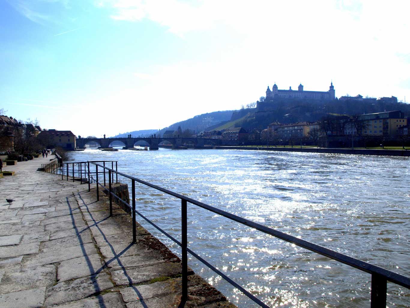 Main promenade,  Old Main Bridge  and  Fortress Marienberg