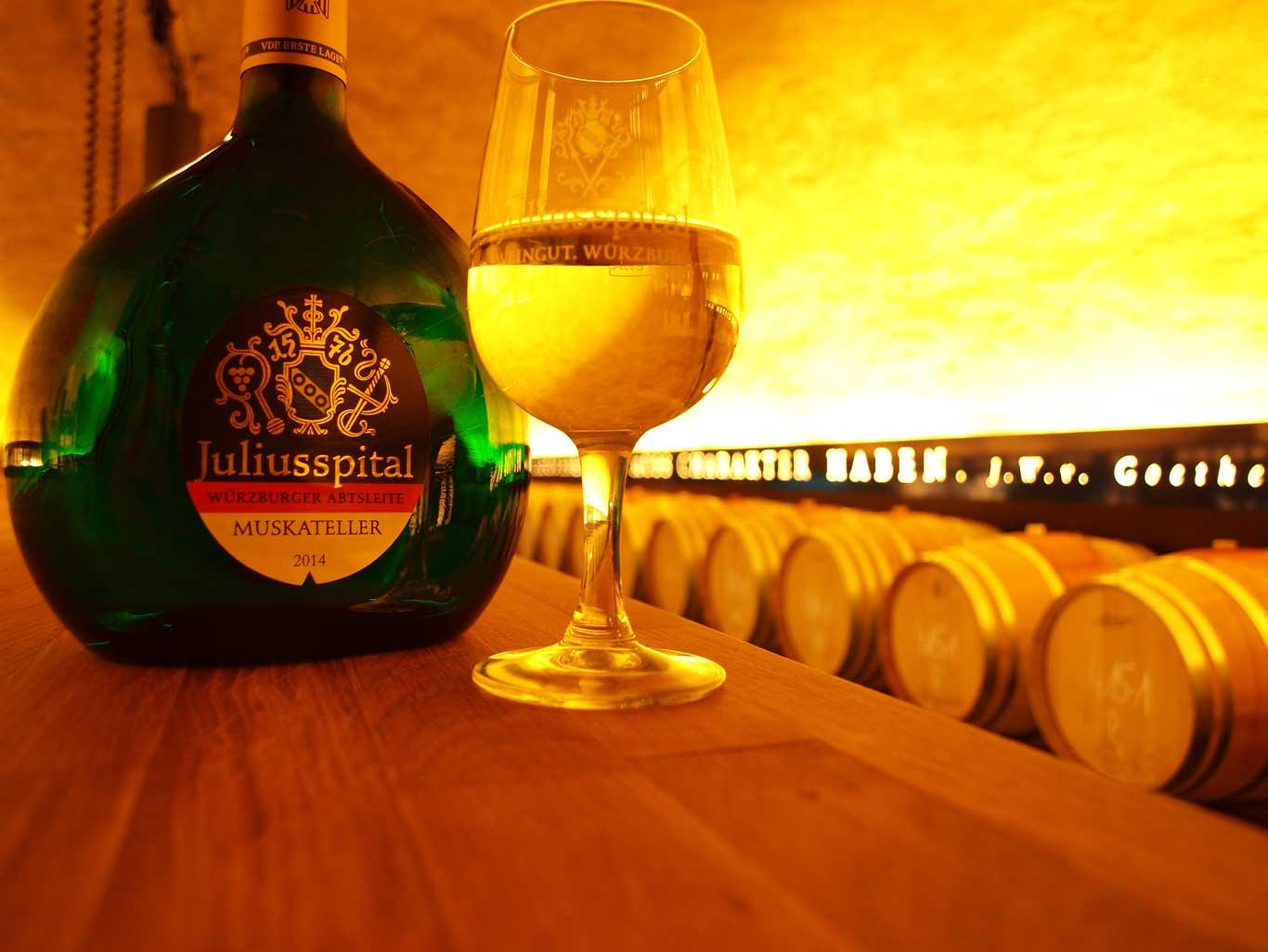 The  Bocksbeutel , traditional bottle shape for Franconian wines