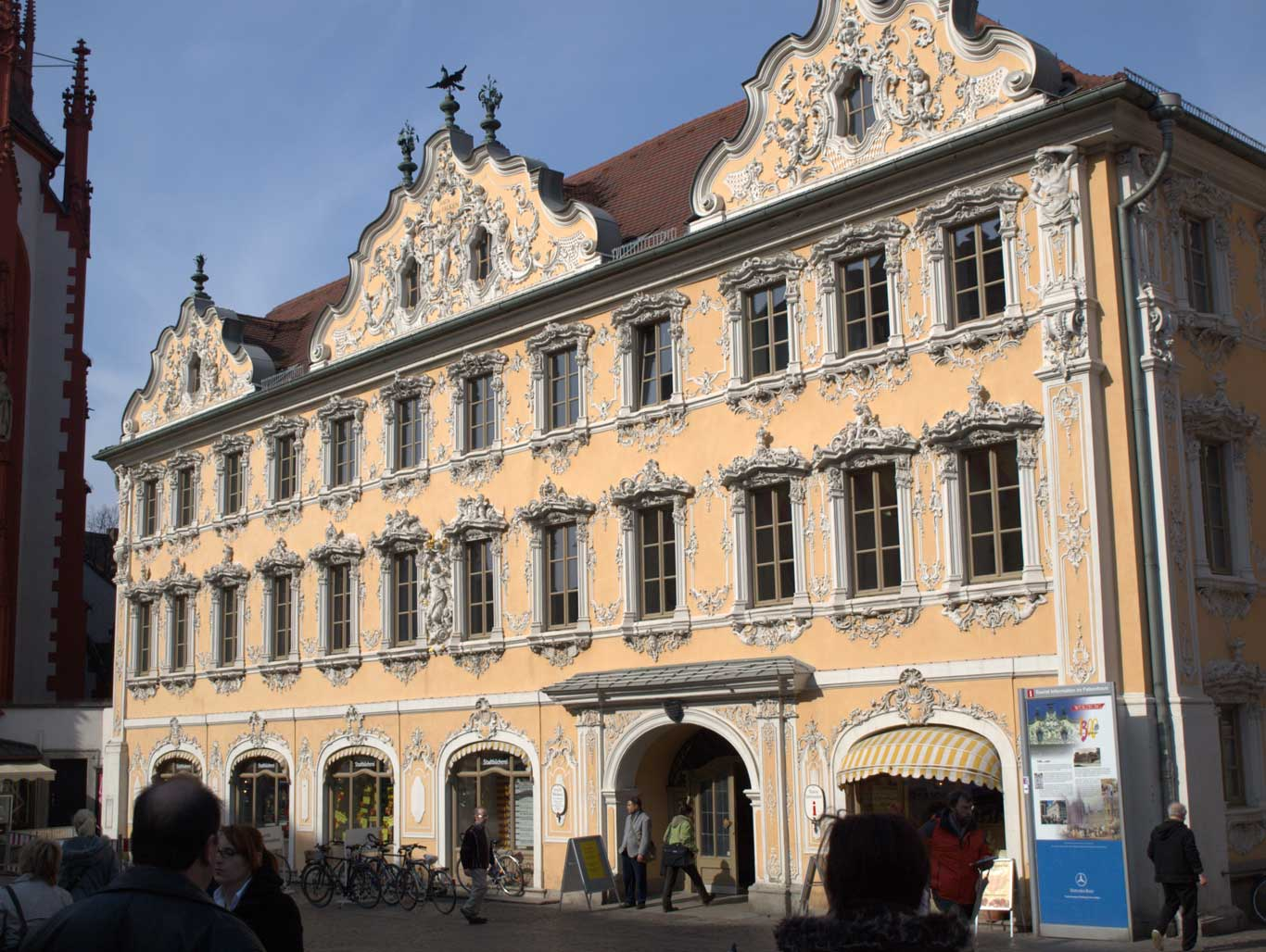 Rococo facade of the  Falkenhaus  in the market square, hometo the Tourist Information Office