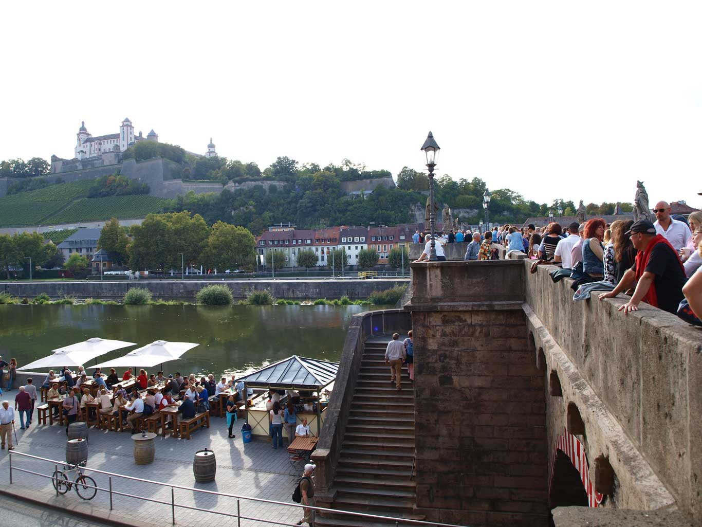 Enjoy a glass of wine and the amazing view from the bridge