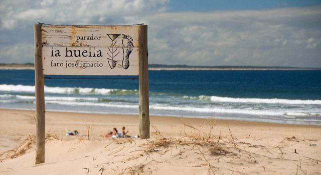 La Huella  (the footprint) sign for  Jose Ignacio 's signature beachside restaurant
