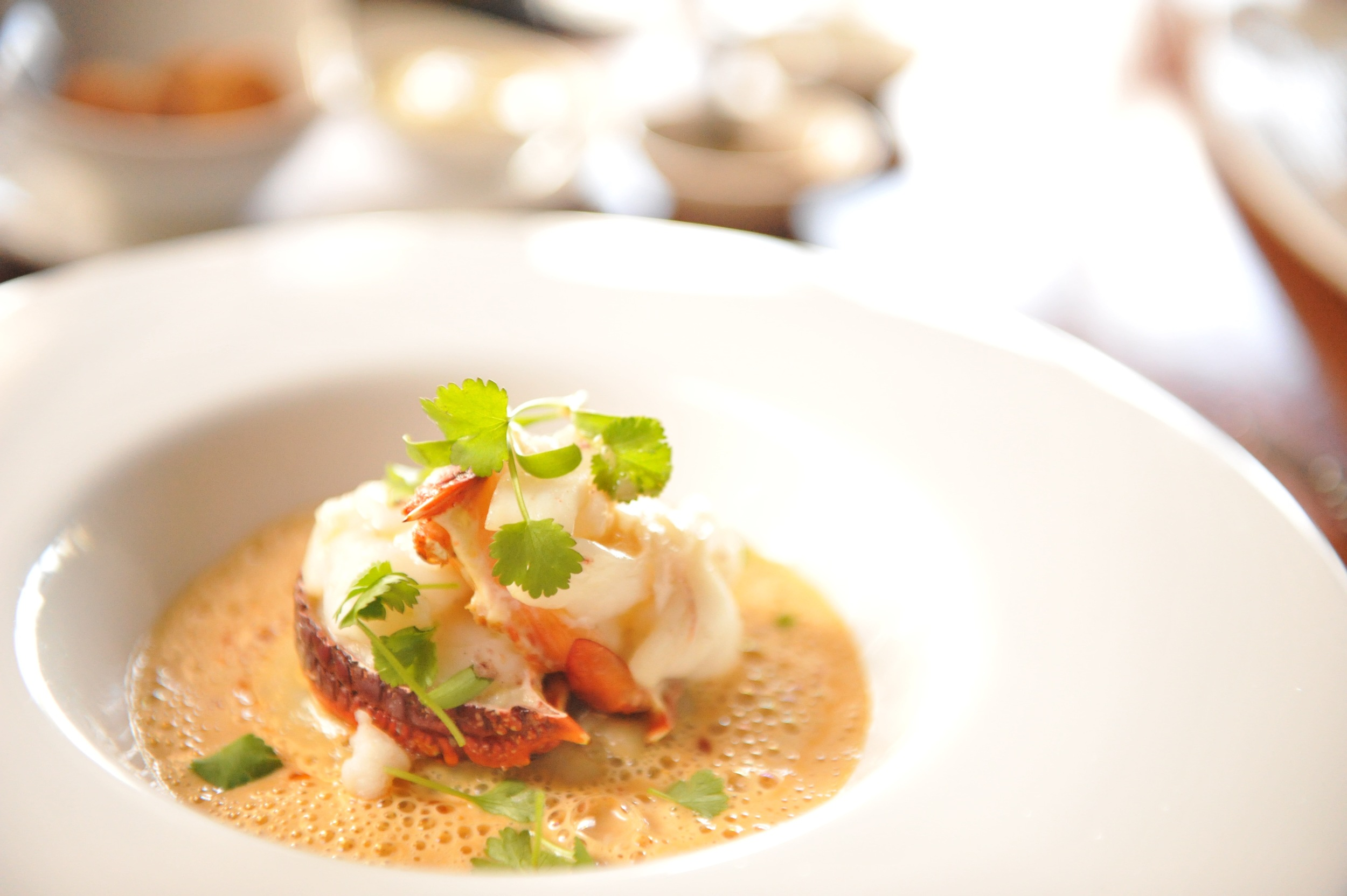 The house special of lobster medallions and bisque