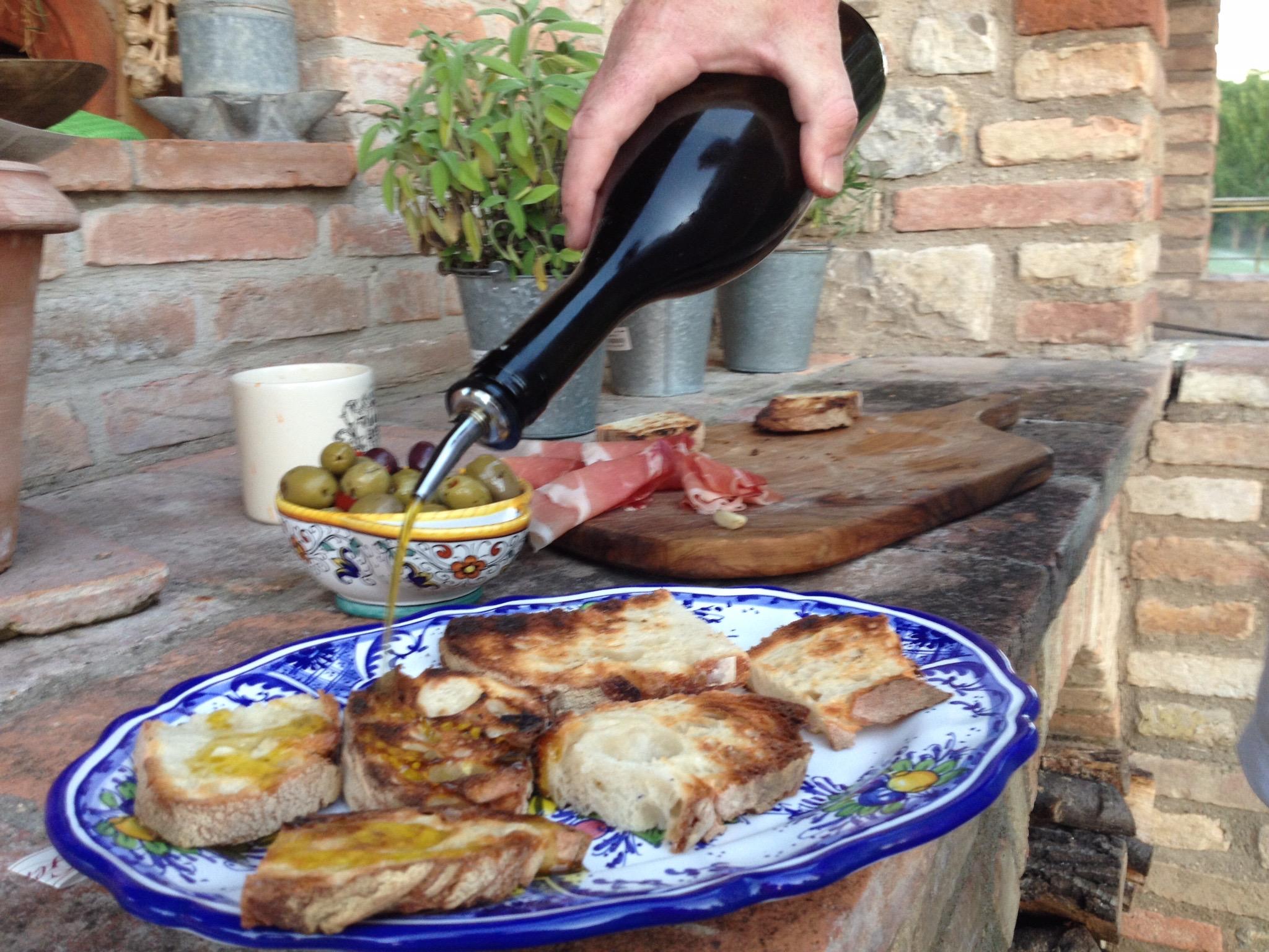 Crusty bread with olive oil, fresh garlic, and sea salt