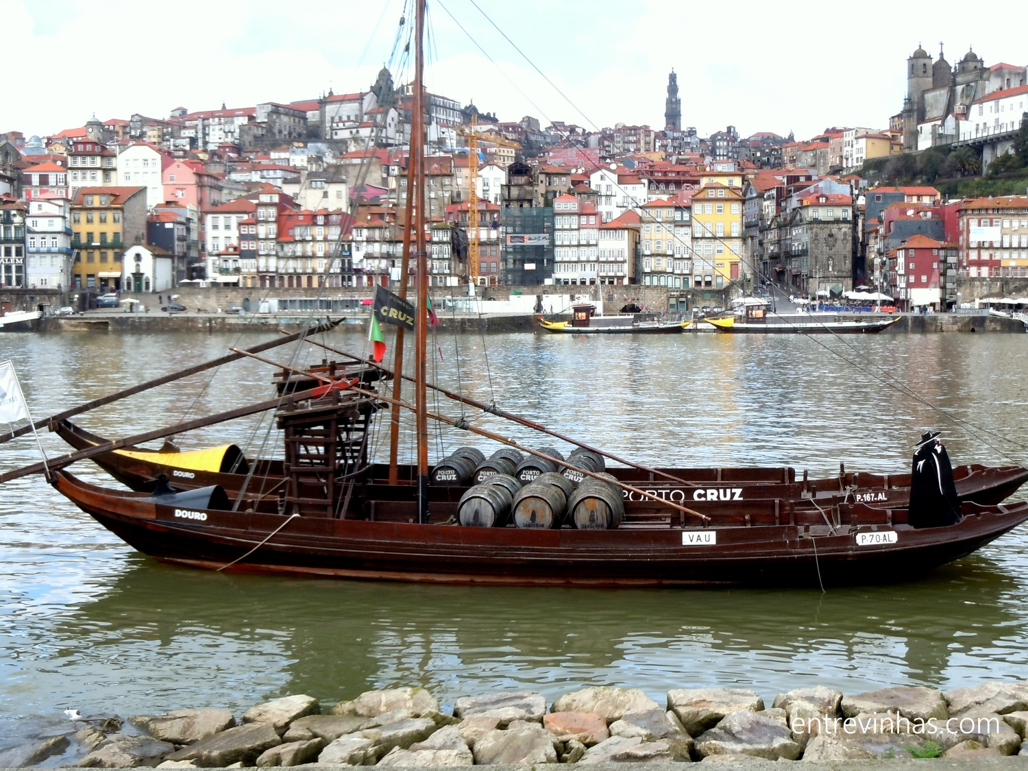"Port Wine Cellars Rabelo Boat -This ""rabelo"" boat was the original way to bring wine barrels from the wineries in the Douro Valley in to Oporto city."