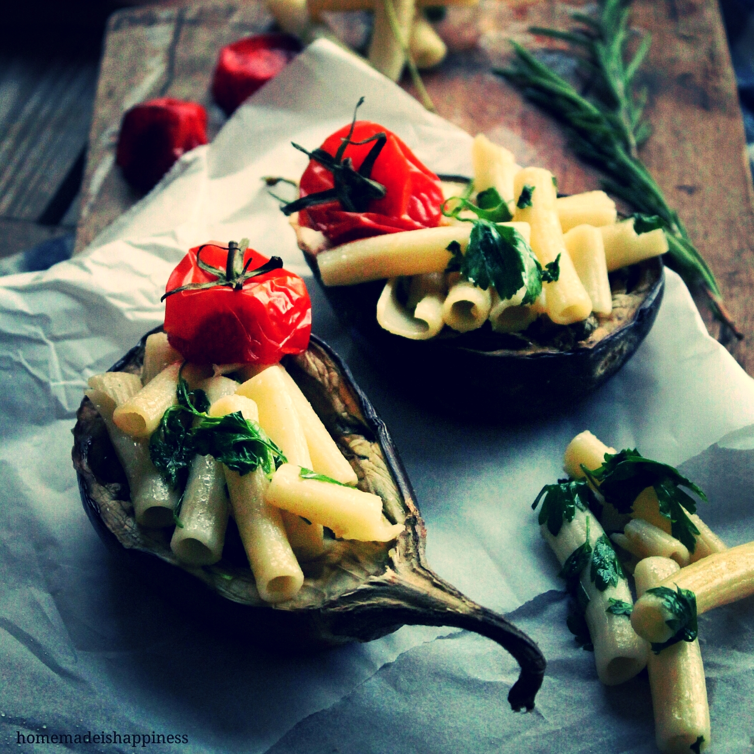Love Mediterranean dinner with pasta & a glass of wine... A healthy choice with stuffed aubergine...