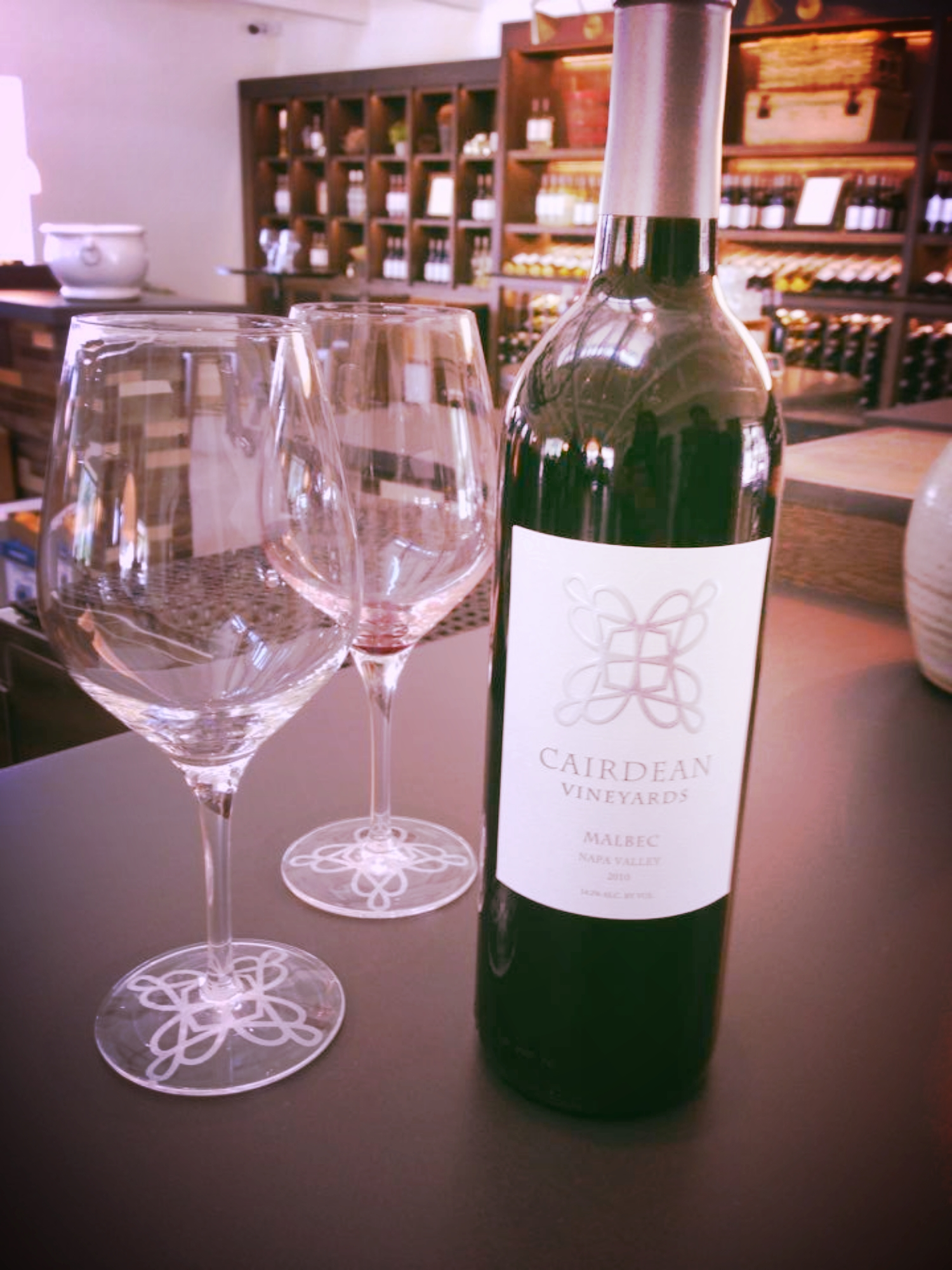My favorite varietal is the Malbec, which was unbelievably scarce in Napa Valley when we visited. We were referred to two cellars that offered it and ended up at Cairdean Vineyards. It was a lovely find.