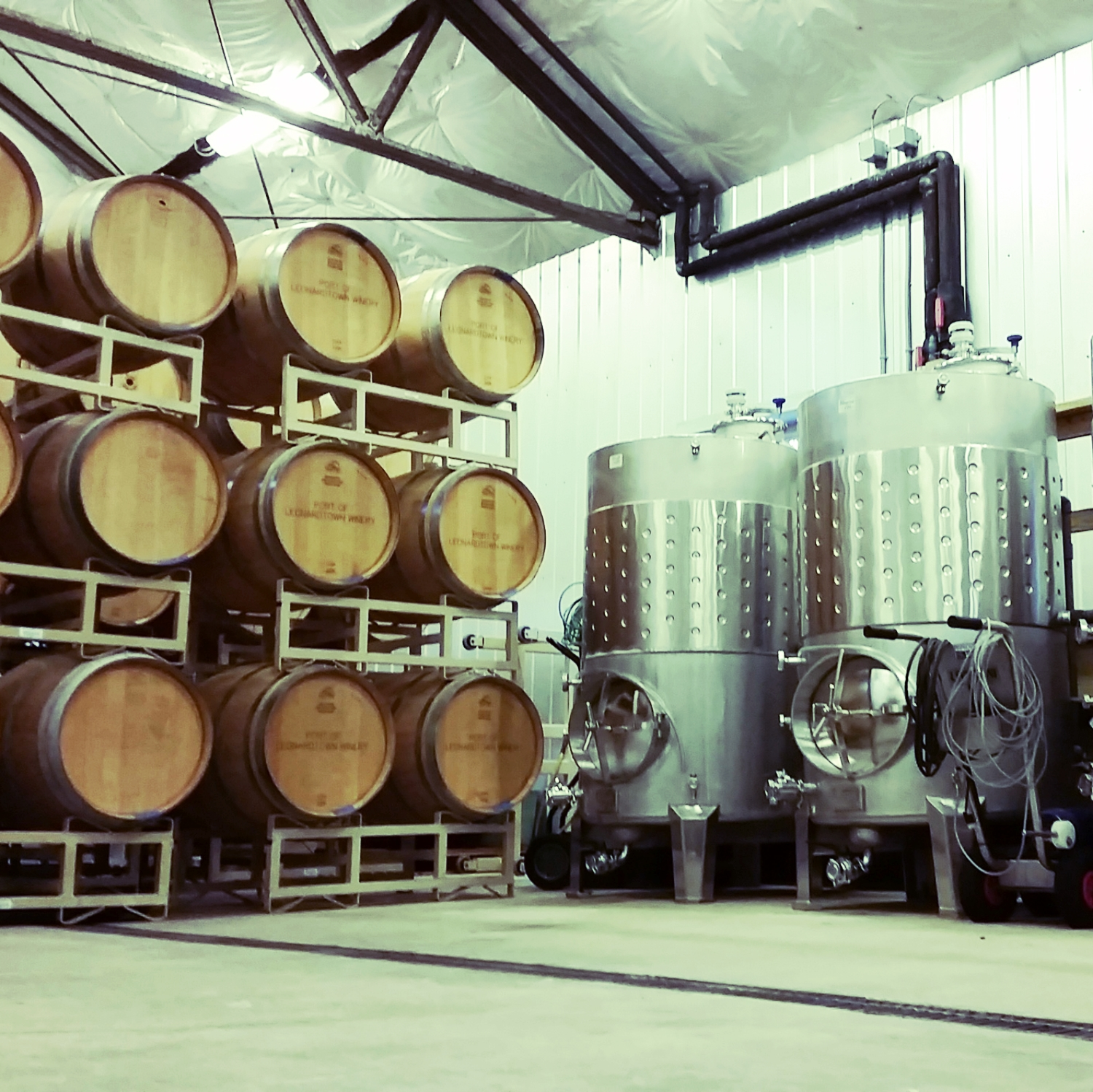 Oak Barrels & Stainless Steel Tanks at Port of Leonardtown Winery.