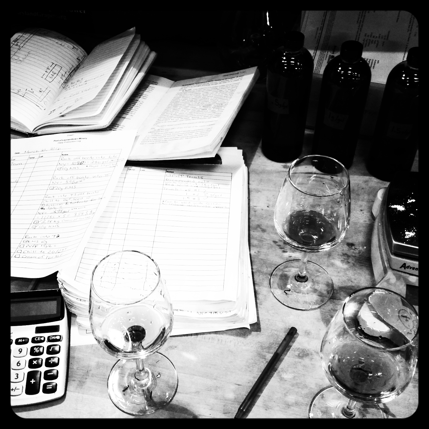 Winemaker's desk