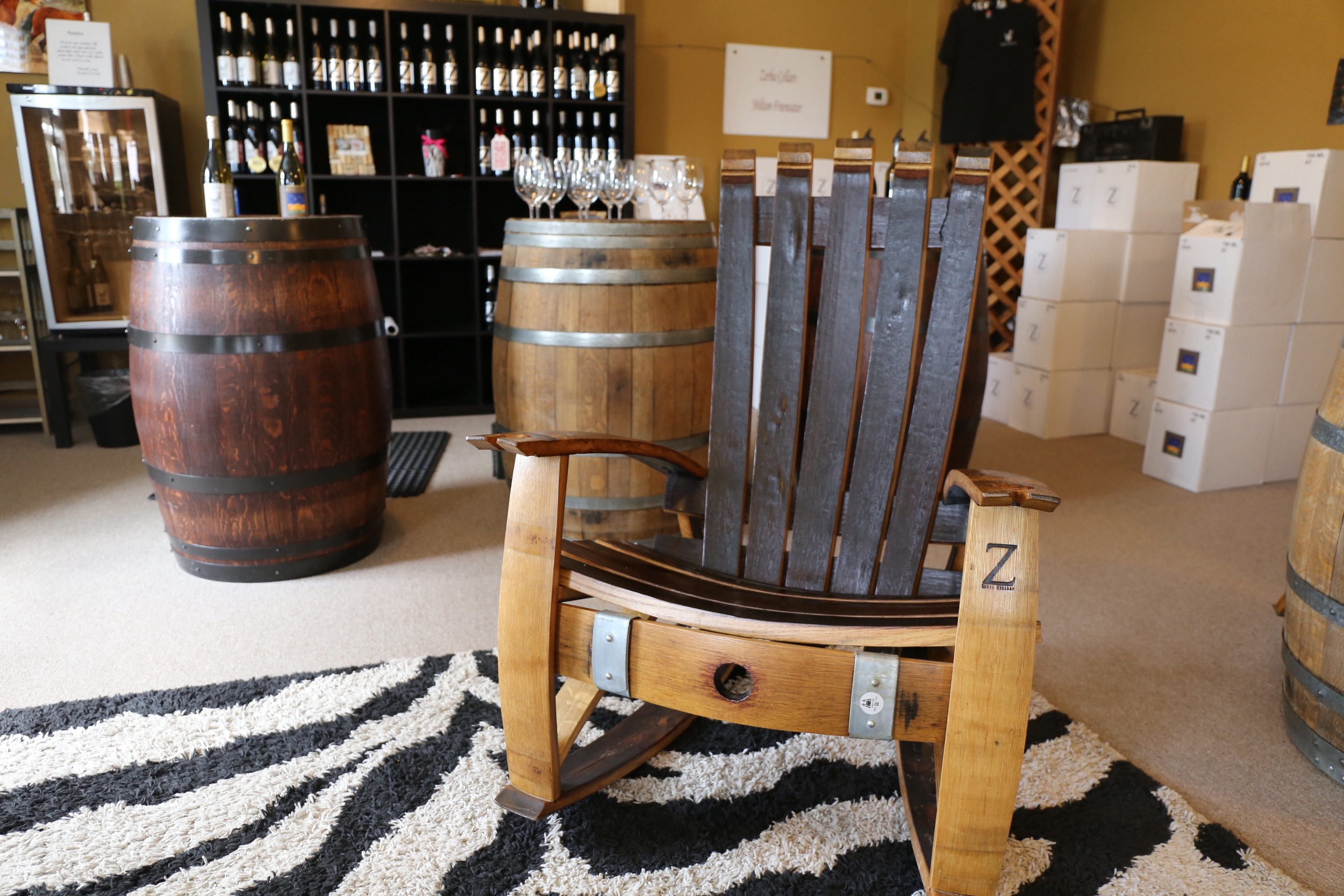 Oak barrel rockers crafted for Zerba Cellars at their Dundee Tasting Room
