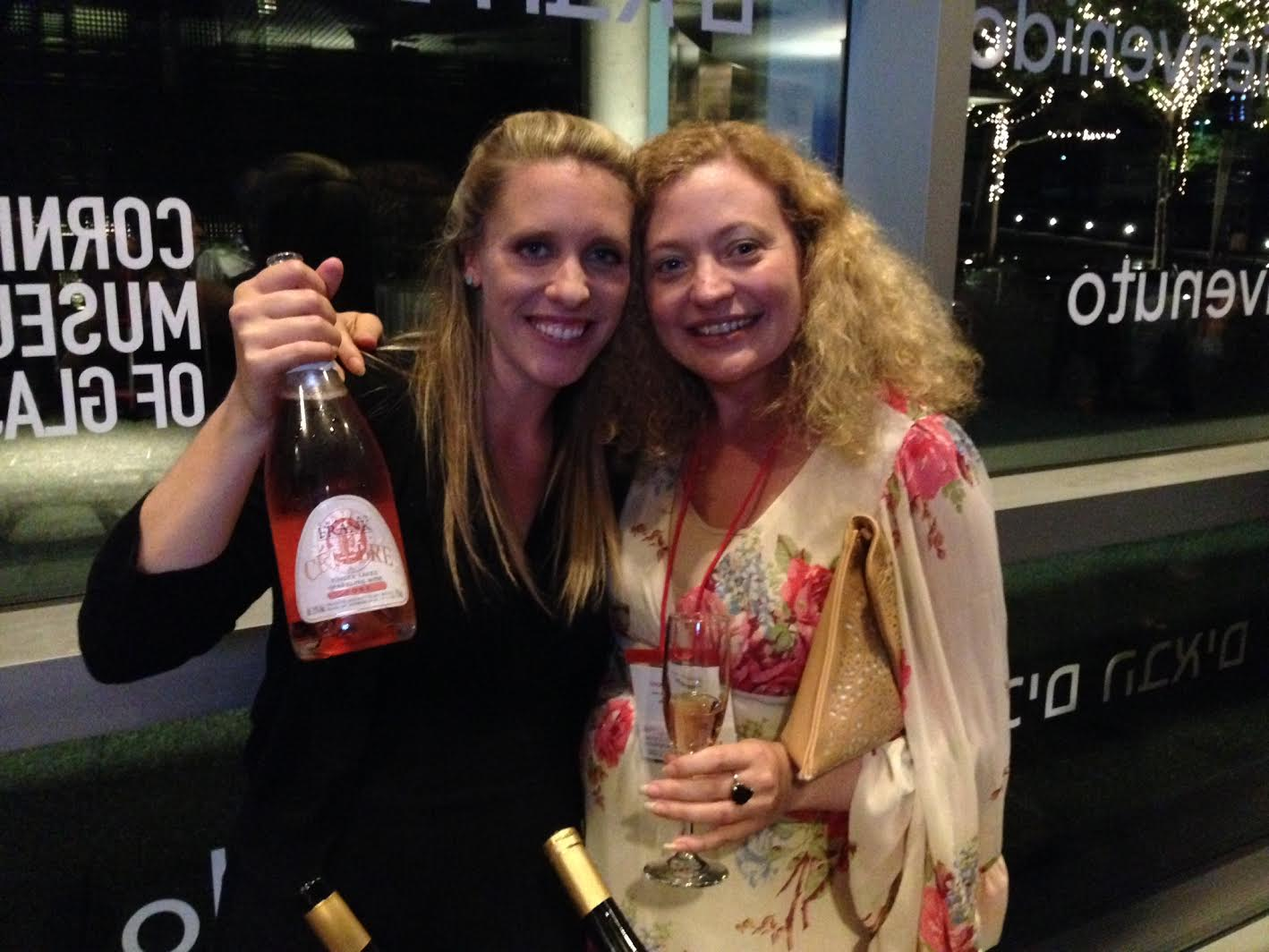 Meaghan Frank and Joanna Snawder enjoying a sparkler from Chateau Frank. Photo credit Gabriel Manzo
