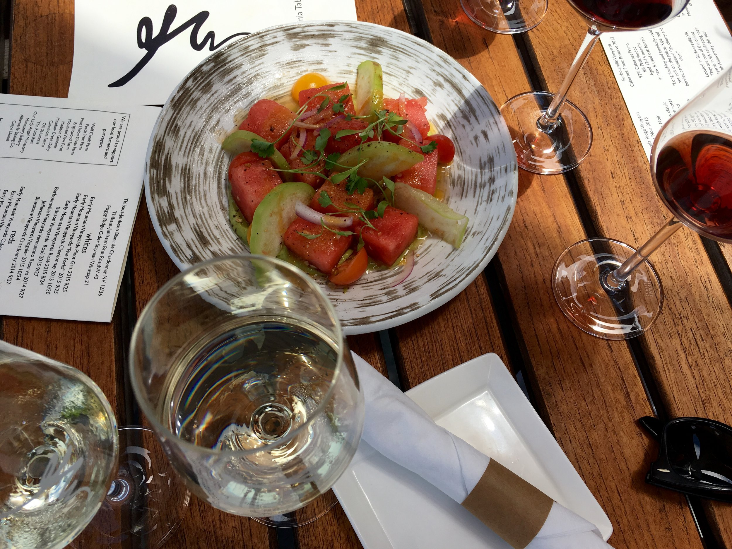 A beautiful salad at Early Mountain Vineyards