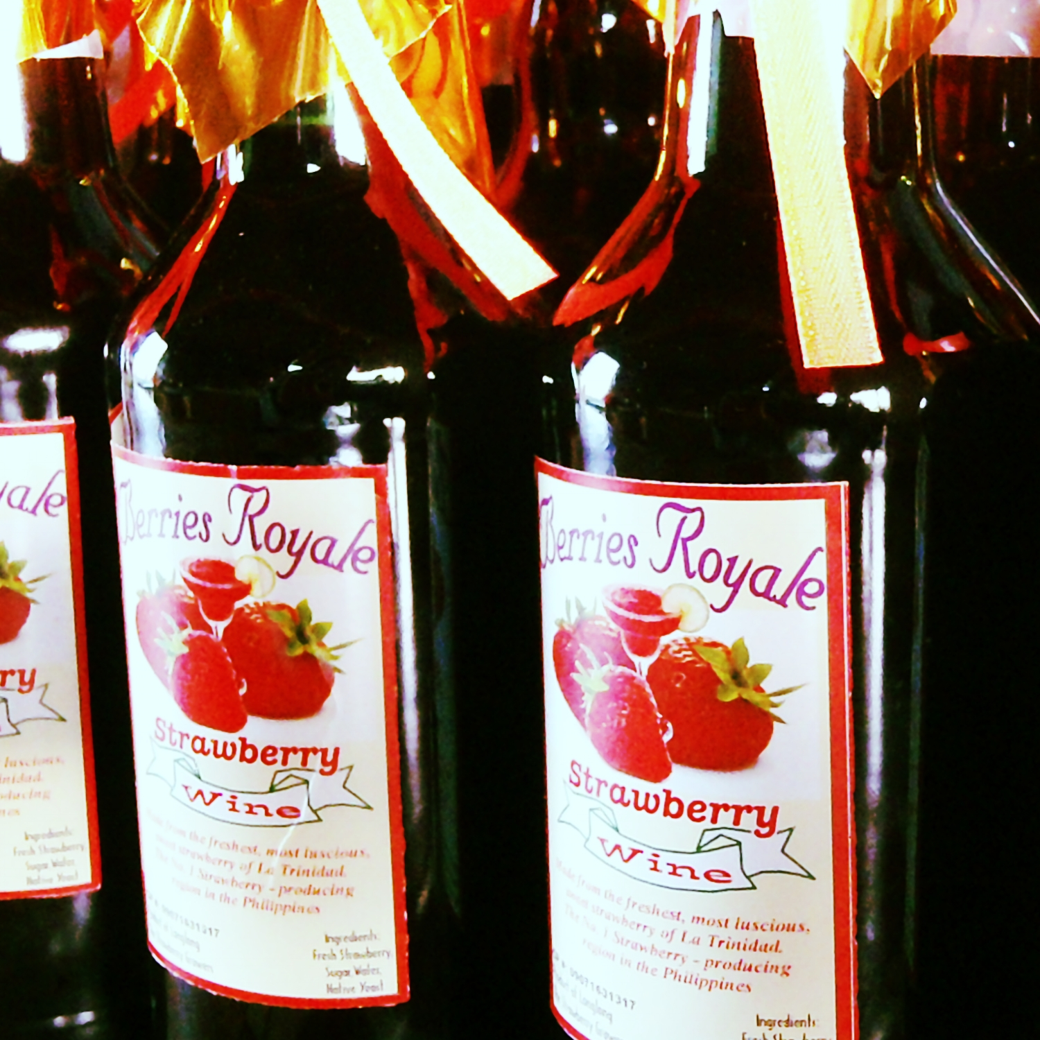 Strawberry Wines freshly made from the strawberry farms in Benguet