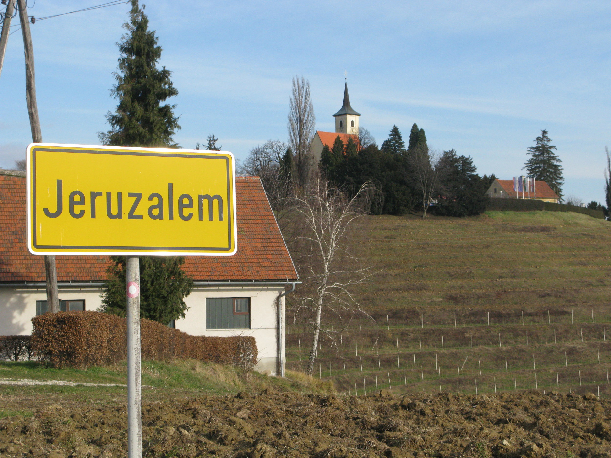 View of Jeruzalem with the sign