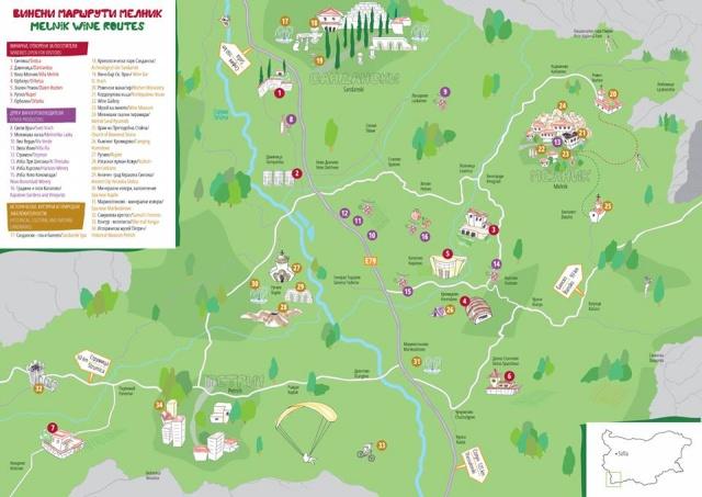Map of Melnik Wine Routes