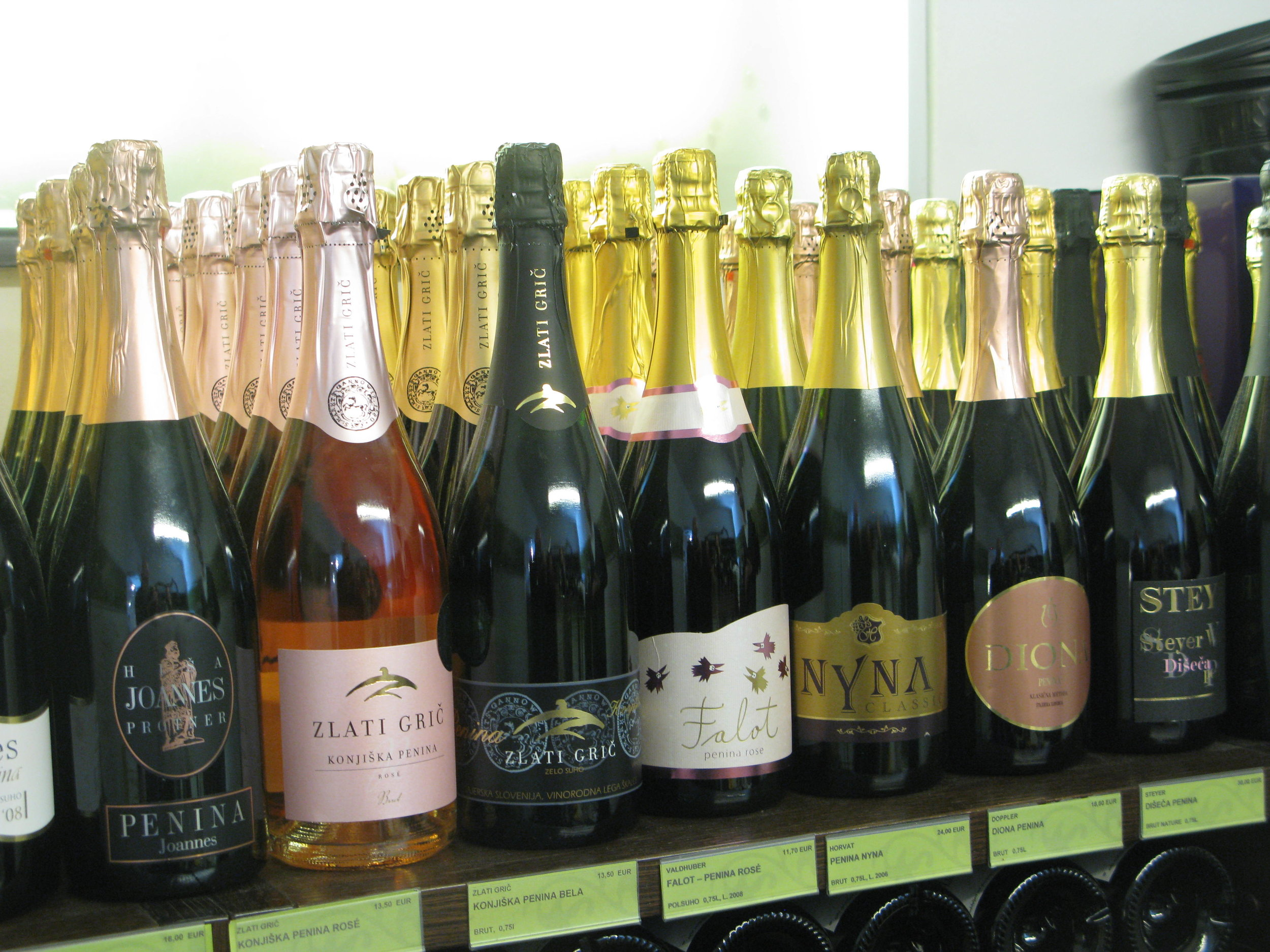 A variety of sparkling wines on offer in the Old Vine House