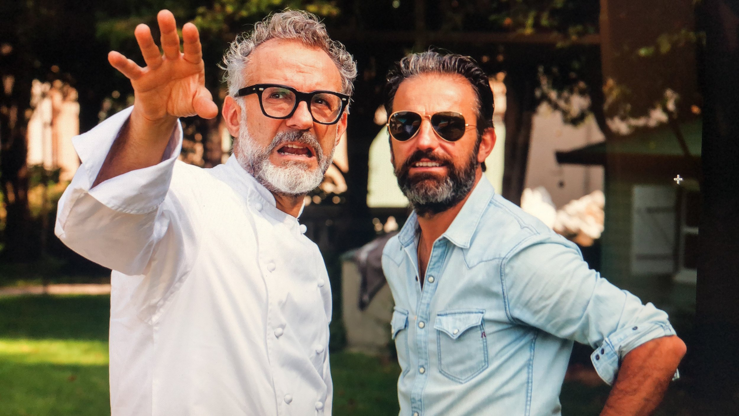 With one of the world's top chefs and close friend Massimo Bottura of Osteria Francescana in Modena.
