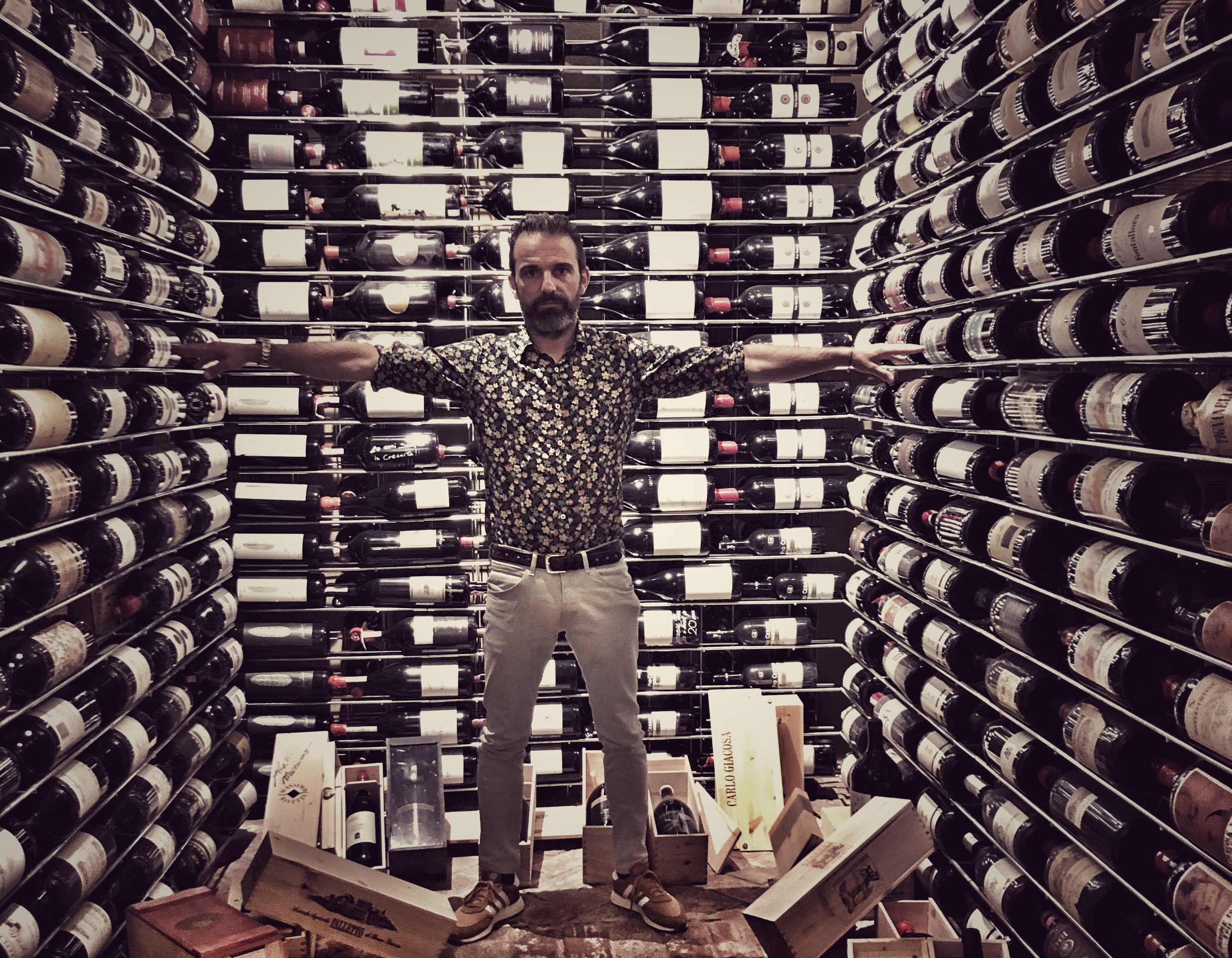 """In the belly of his """"whale."""" Filippo's cellar of over 50,000 bottles."""