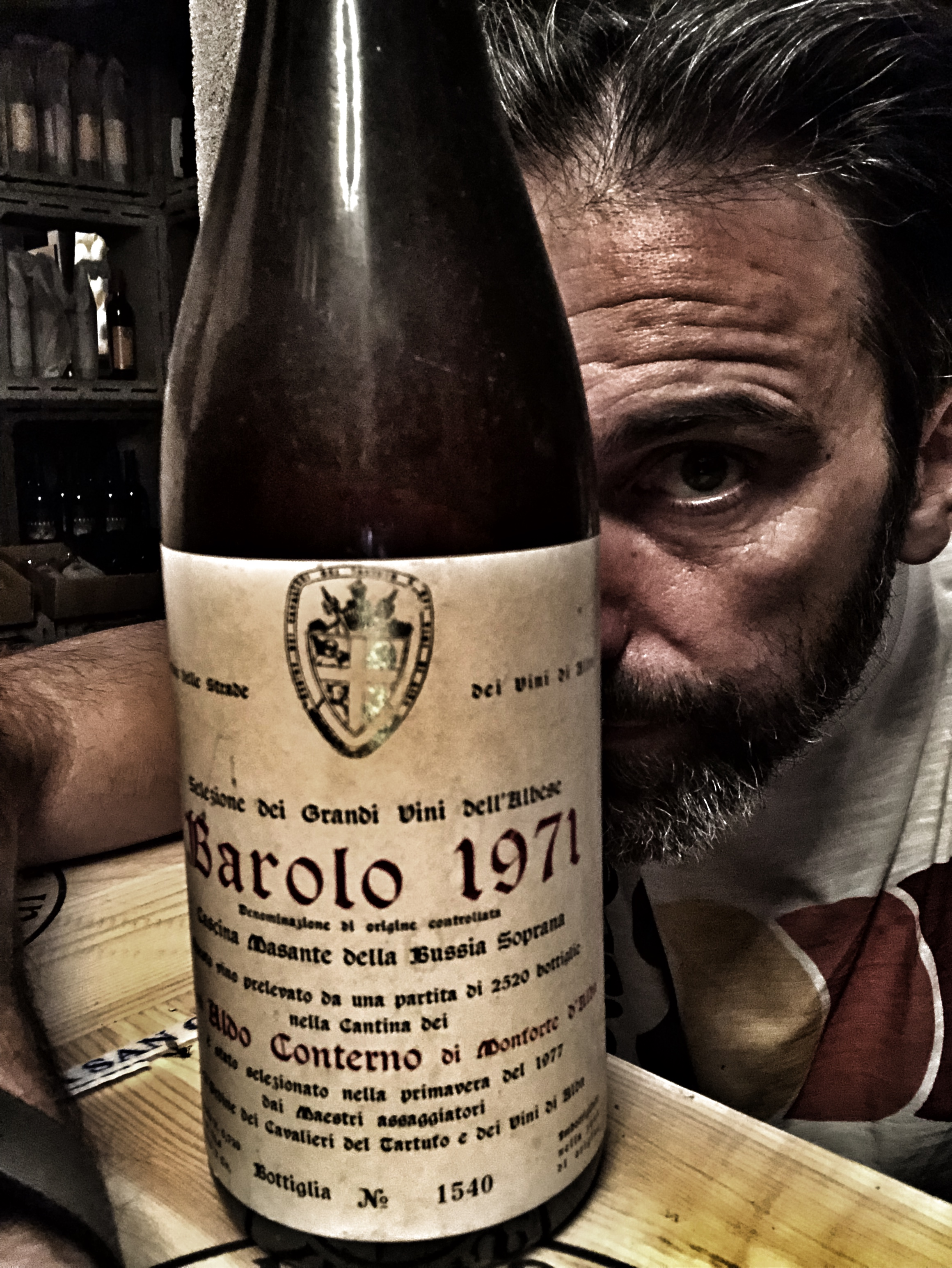 With an immortal bottle of 1971 Conterno Barolo just before drinking it.