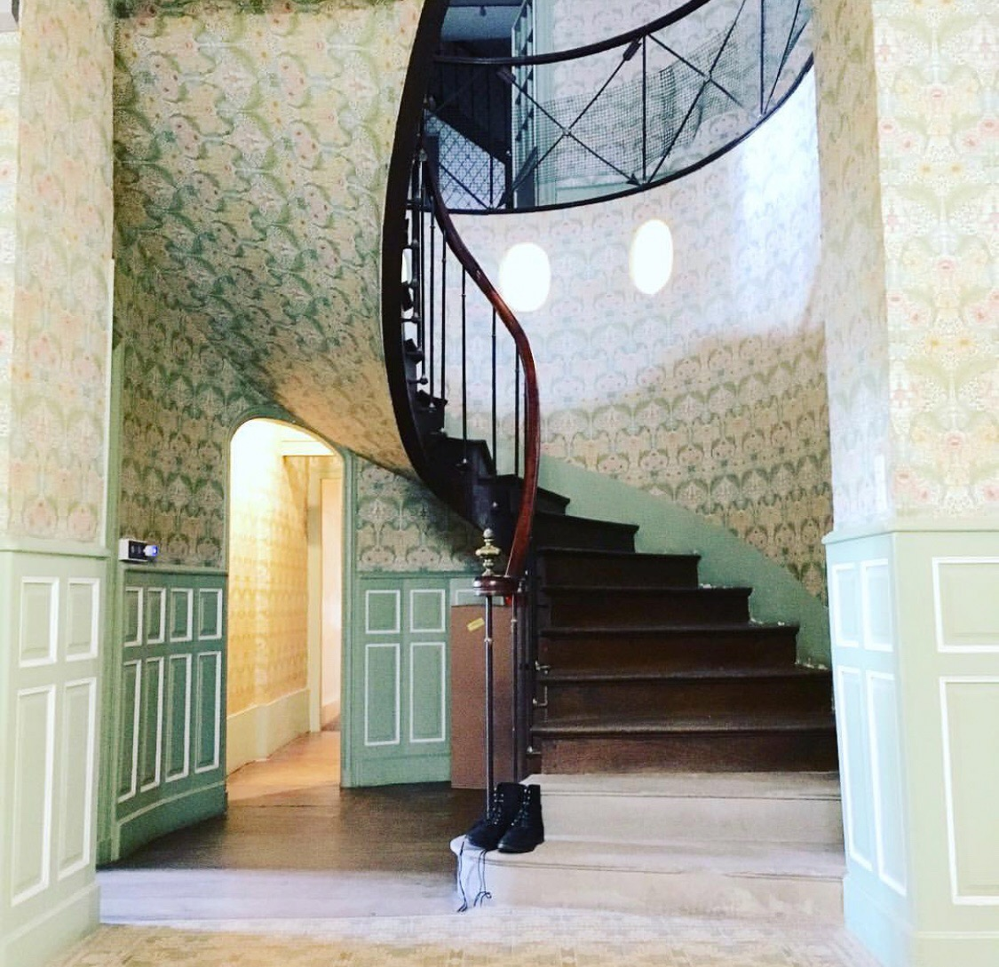 The nautical-themed staircase inside Serge and Malin's Haute-Marne home.