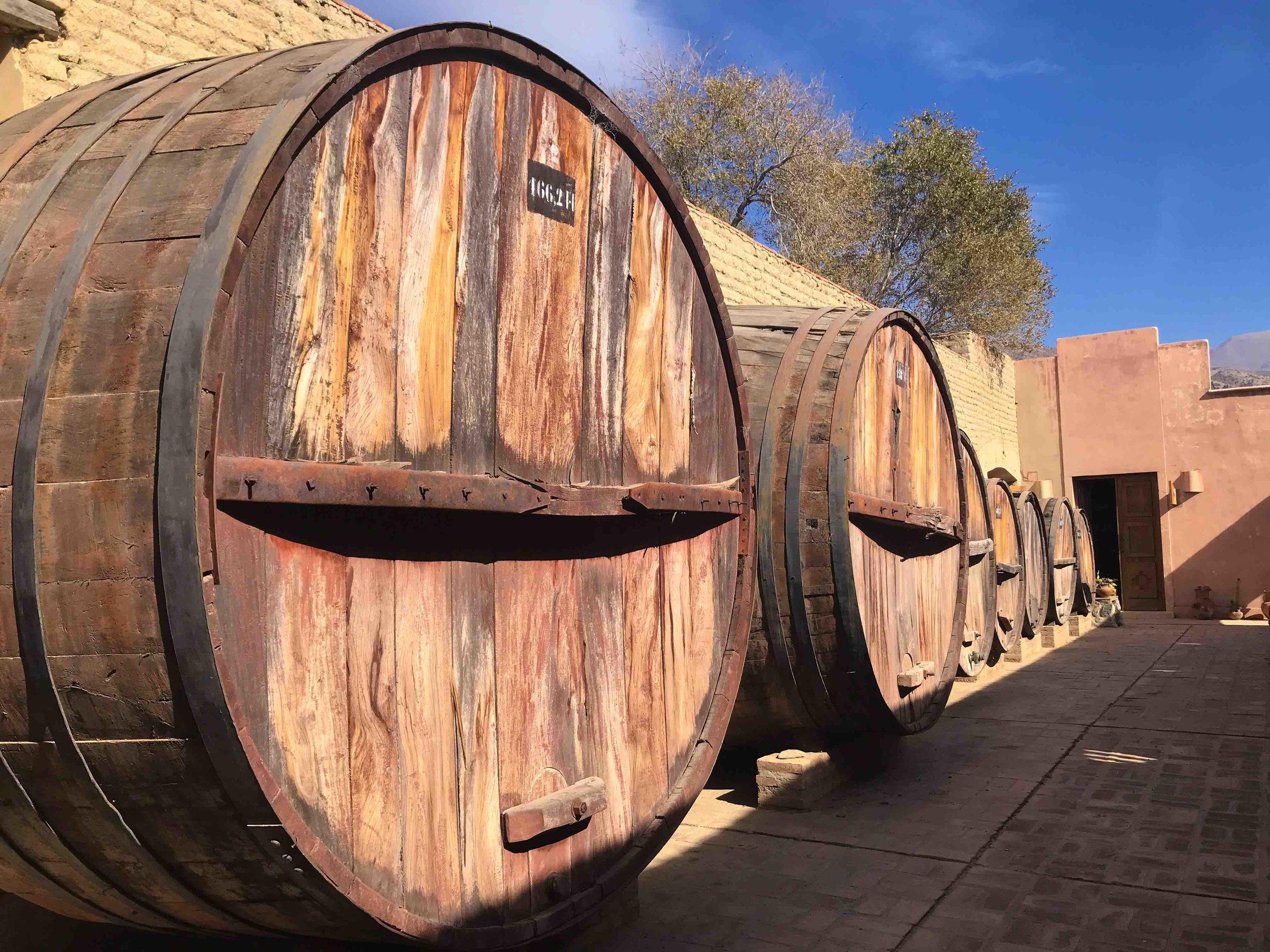El Porvenir Colonial Wine Barrels in Cafayate, Argentina.
